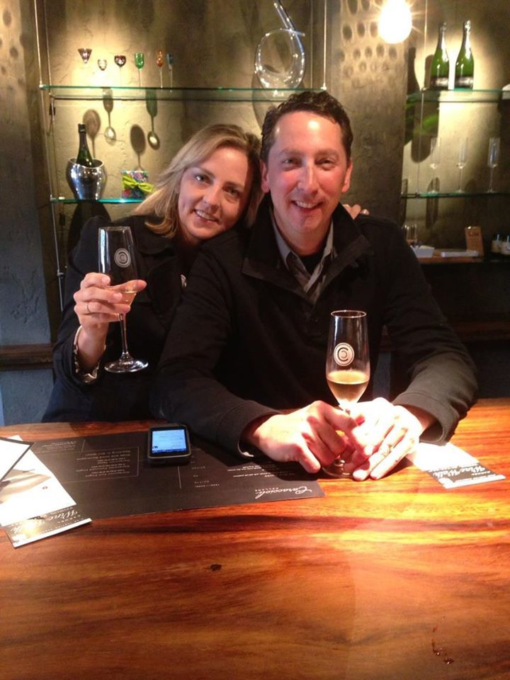 Couple tasting Champagne on the Carmel Wine Walk