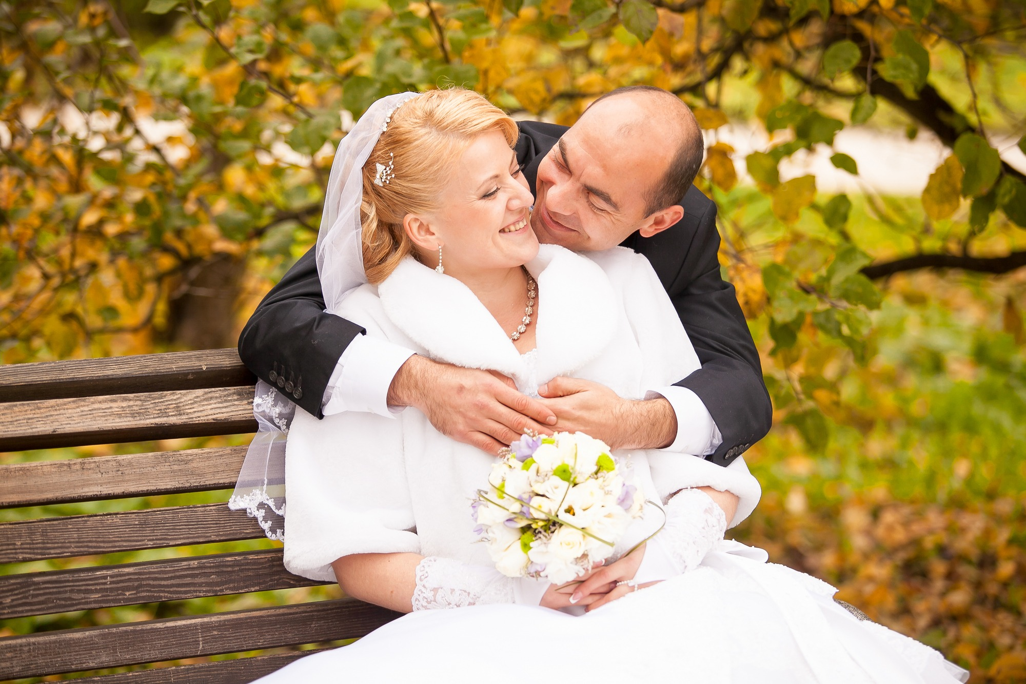 Middle aged bride and groom