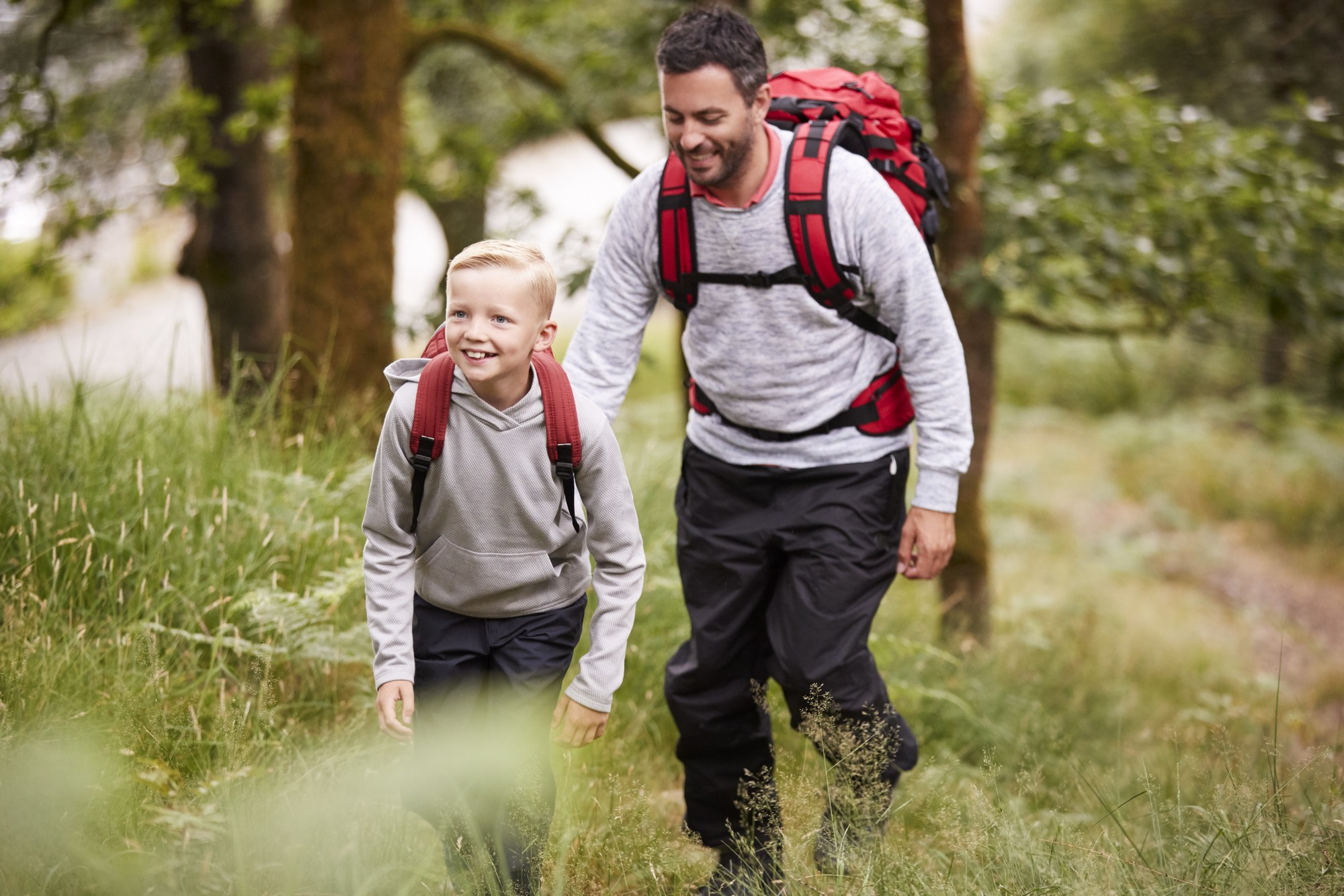 All family members should carry their own backpacks when camping