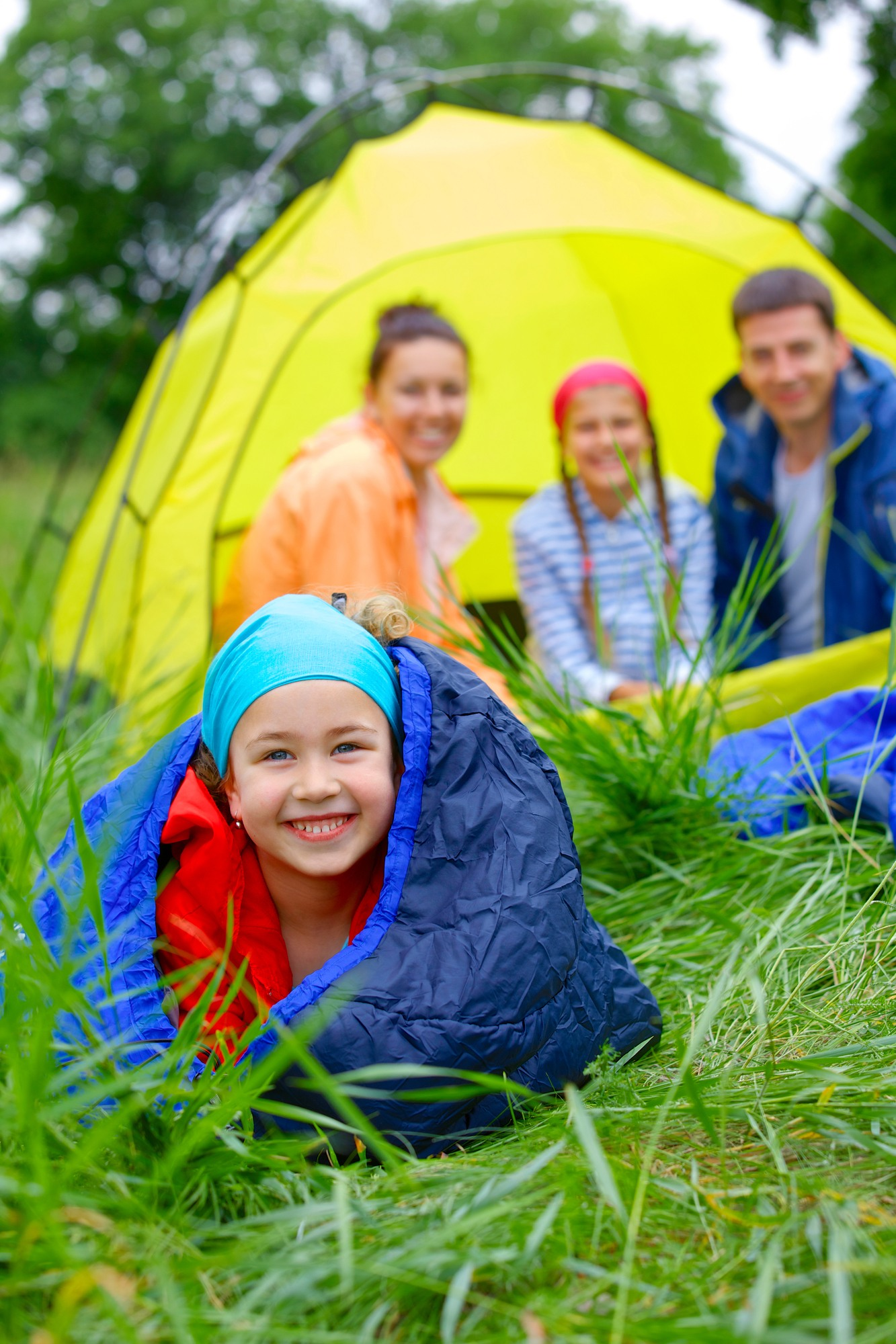 Buy sleeping bags for your first family camping trip