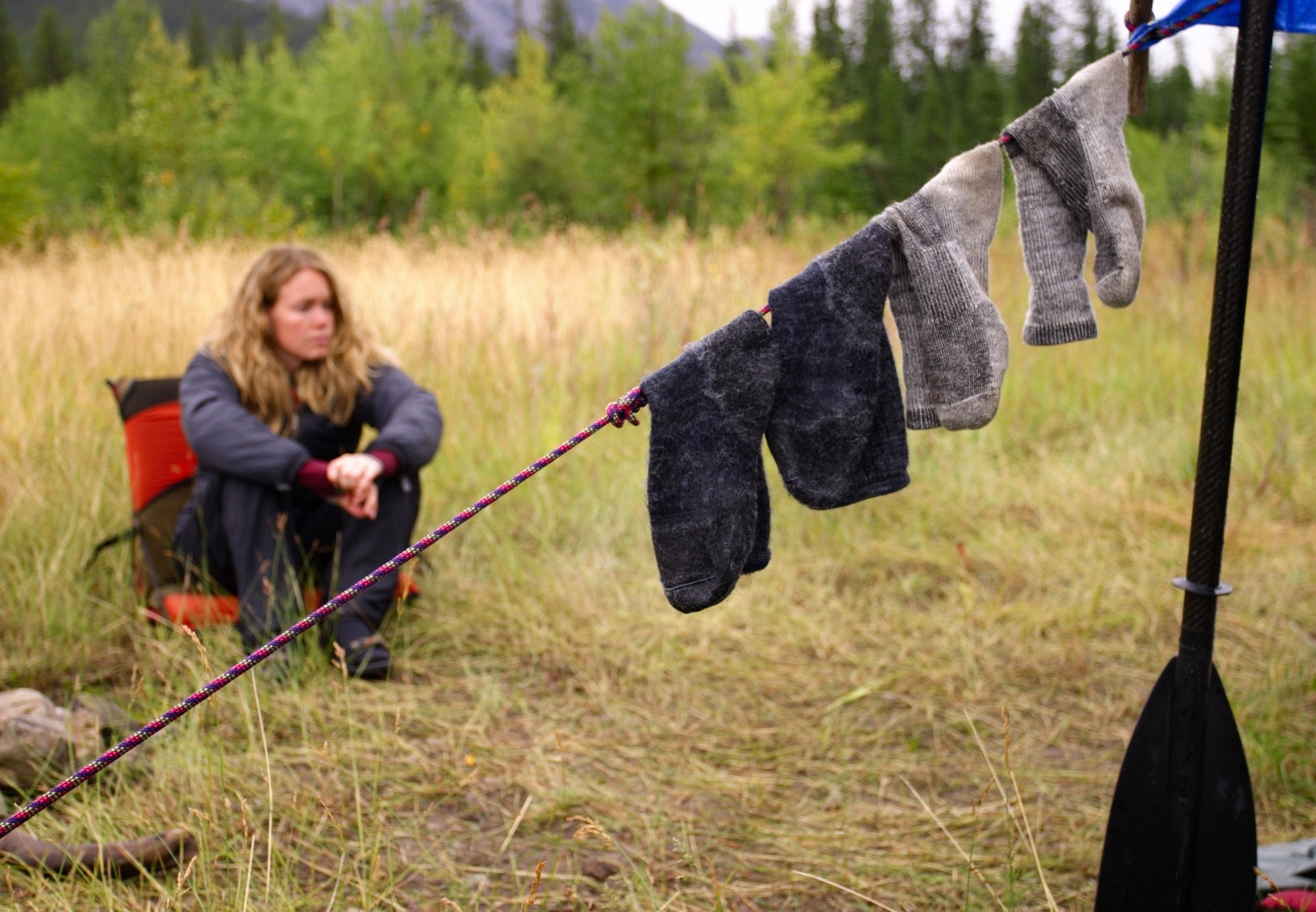 Keep feet happy and dry with moisture-wicking socks on your first camping trip