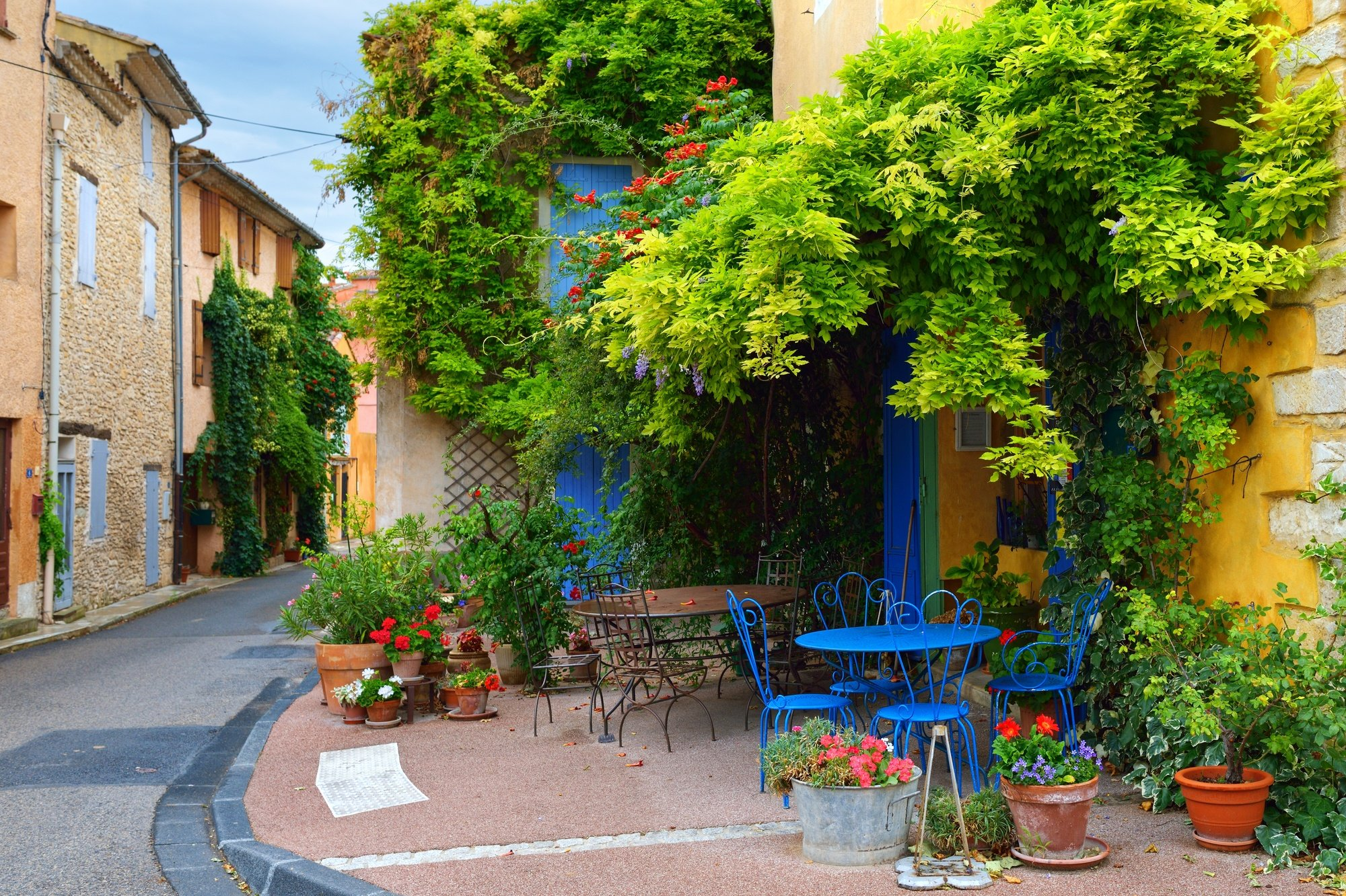 A beautiful street scene in Villes-sur-Auzon in Provence, France