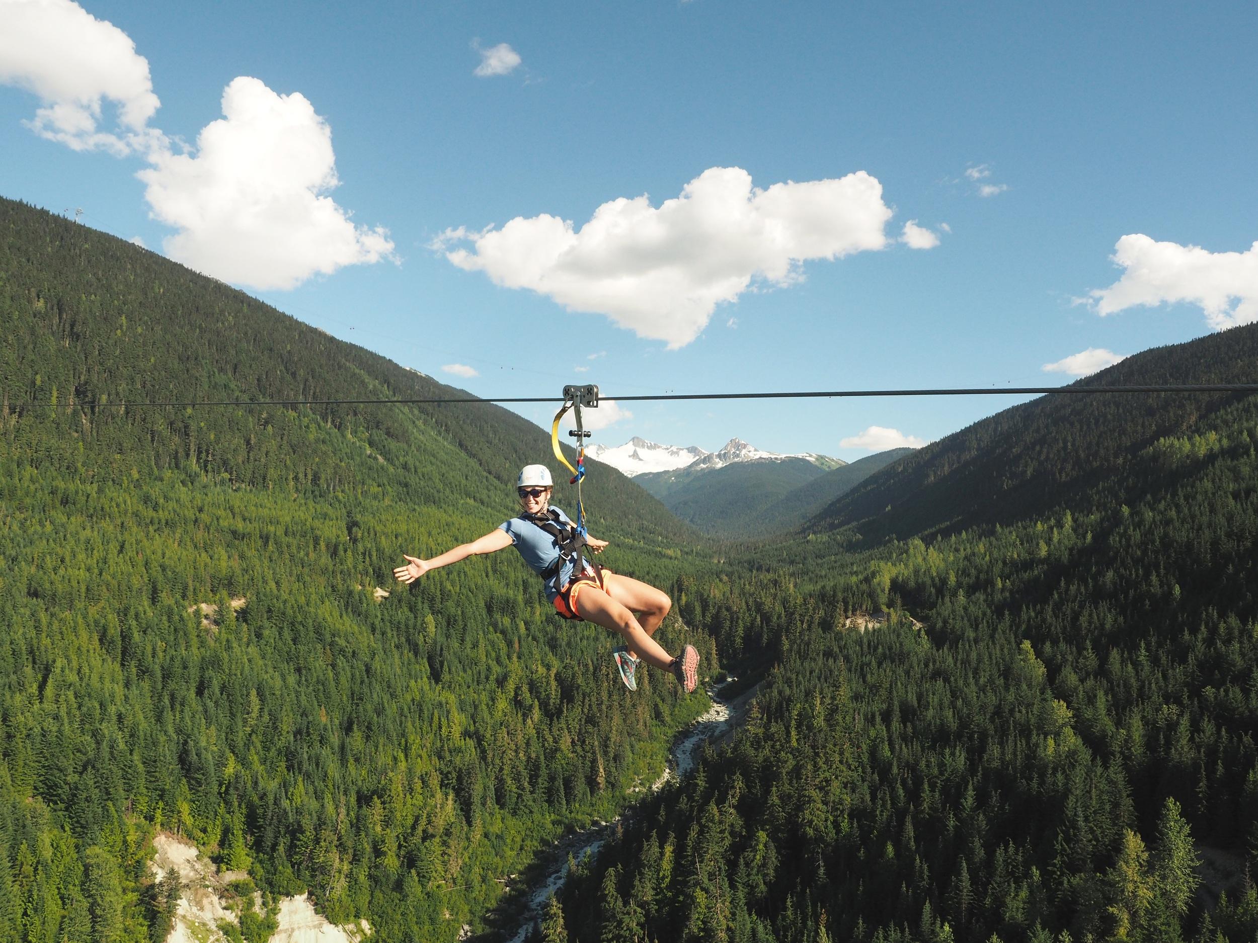 Zip-lining in Whistler with Ziptrek