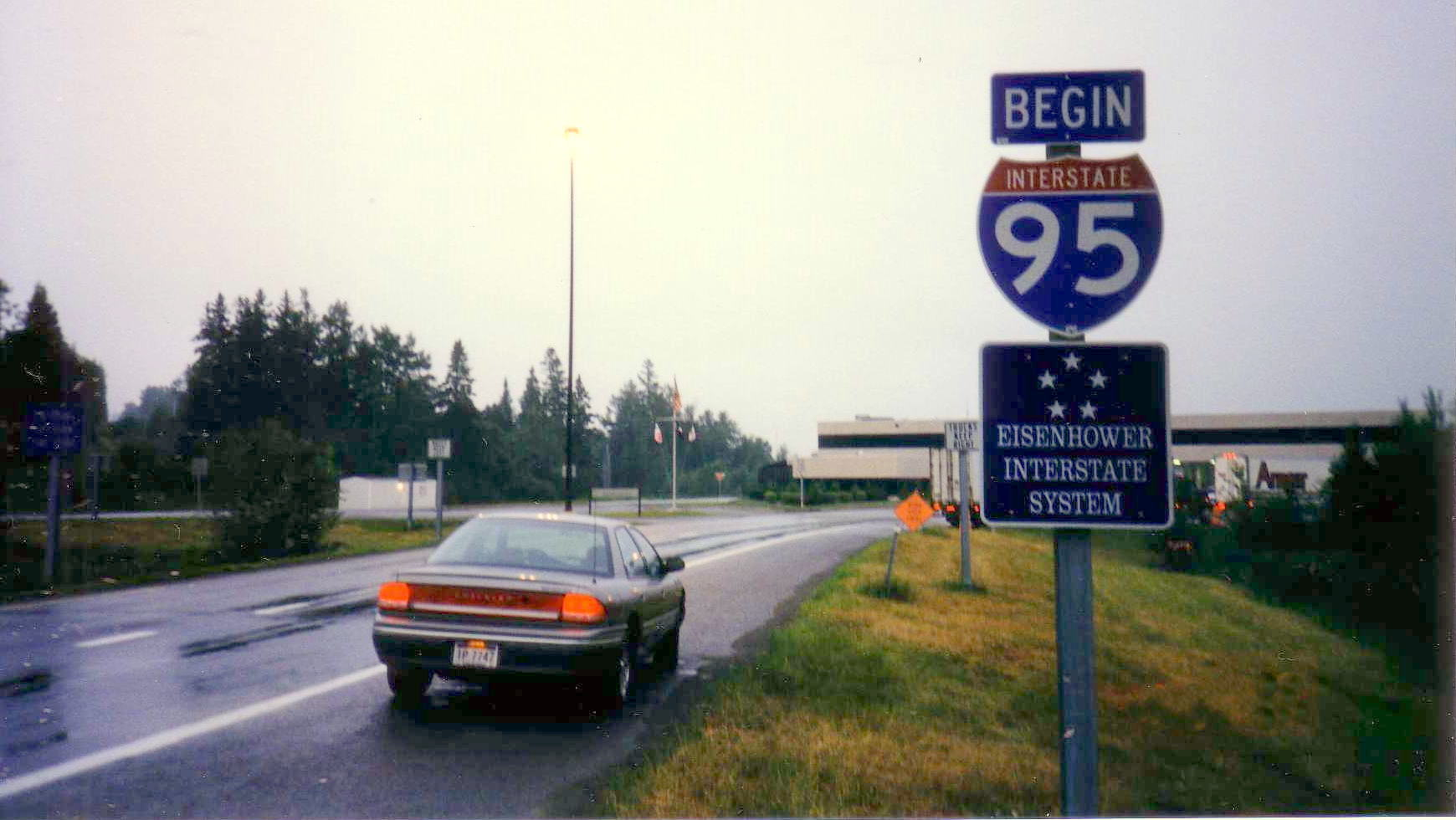 The start of I-95 in Houlton, Maine at the Canadian border