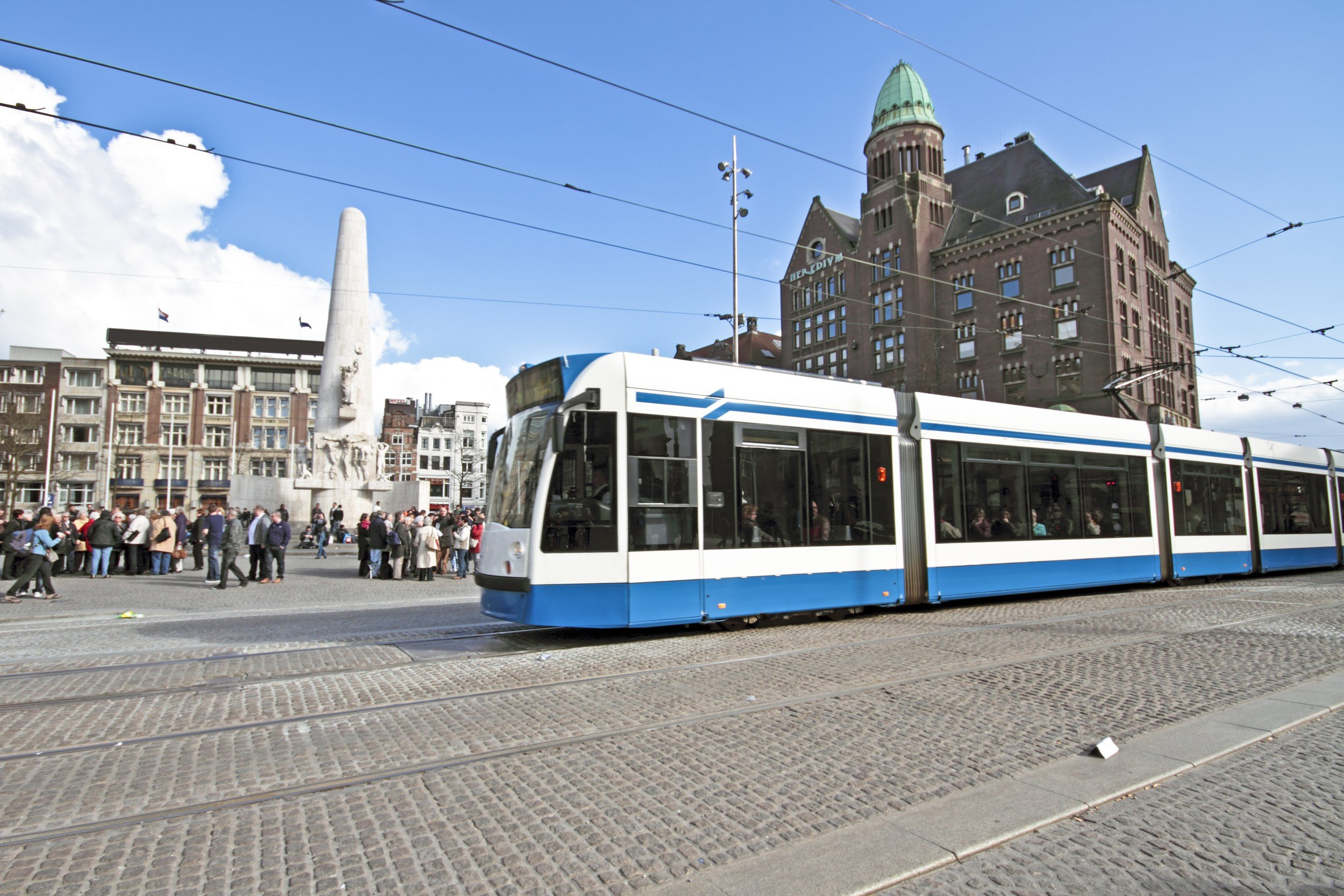 Tram at Dam Square in Amsterdam