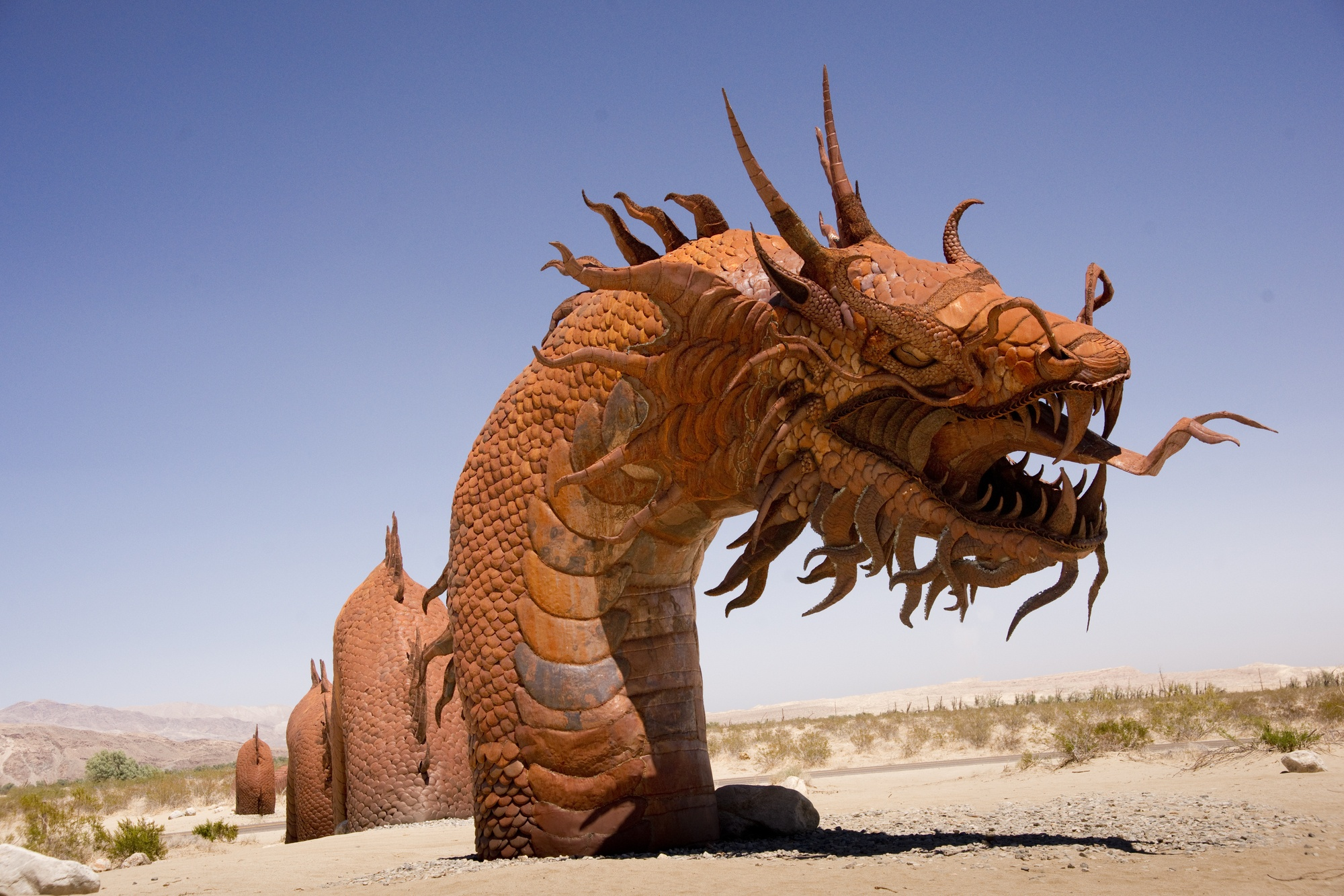 Ricardo Breceda's 350-foot long serpent in the Borrego Springs Desert