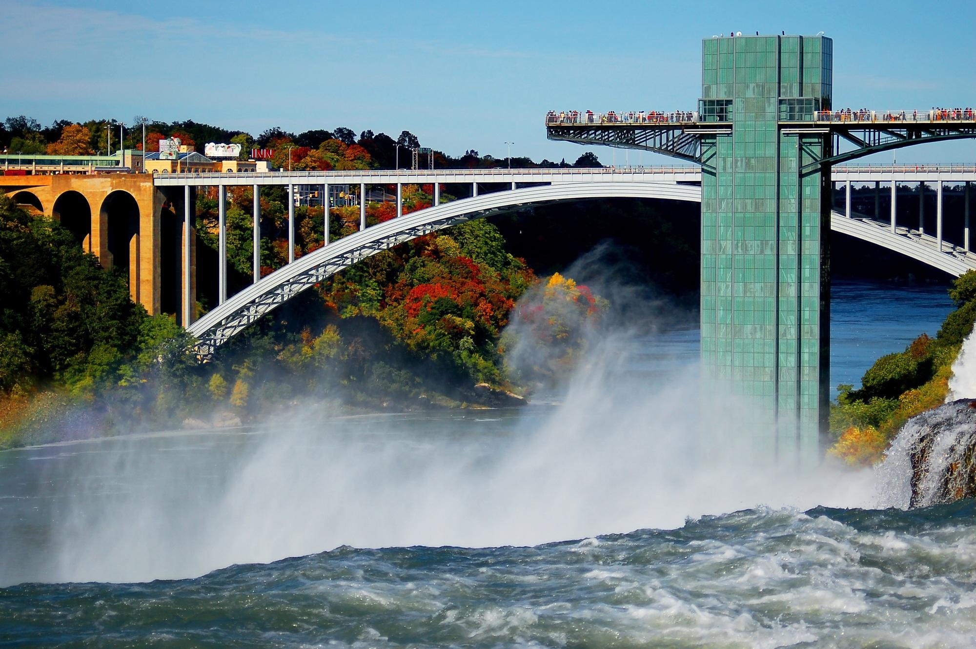 The Rainbow Bridge and Niagara Falls in Buffalo, NY