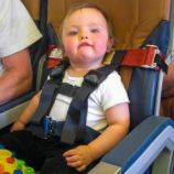 Toddler on airplane with CARES harness