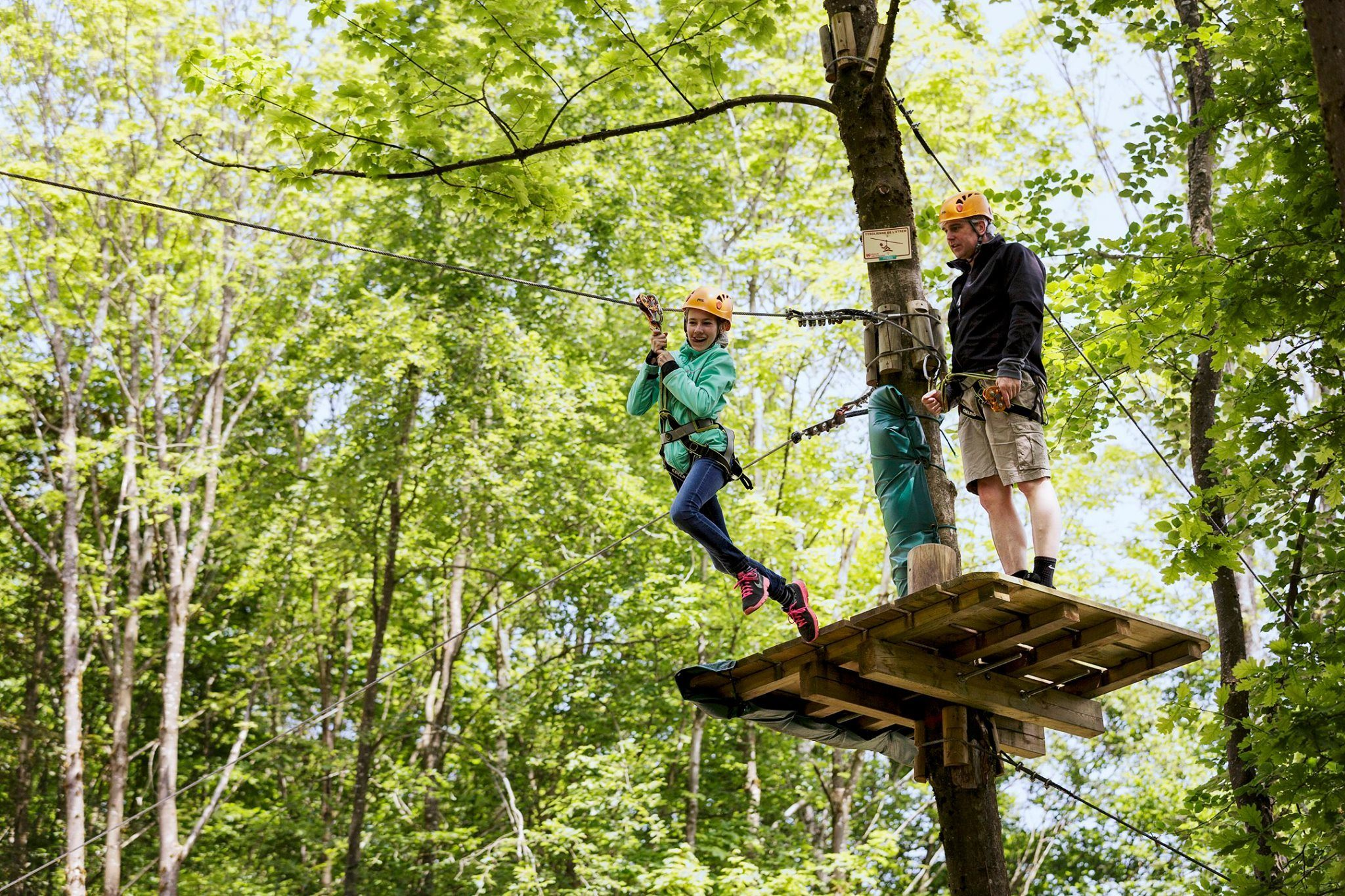 Zip-lining at CenterParks France Trois Forets