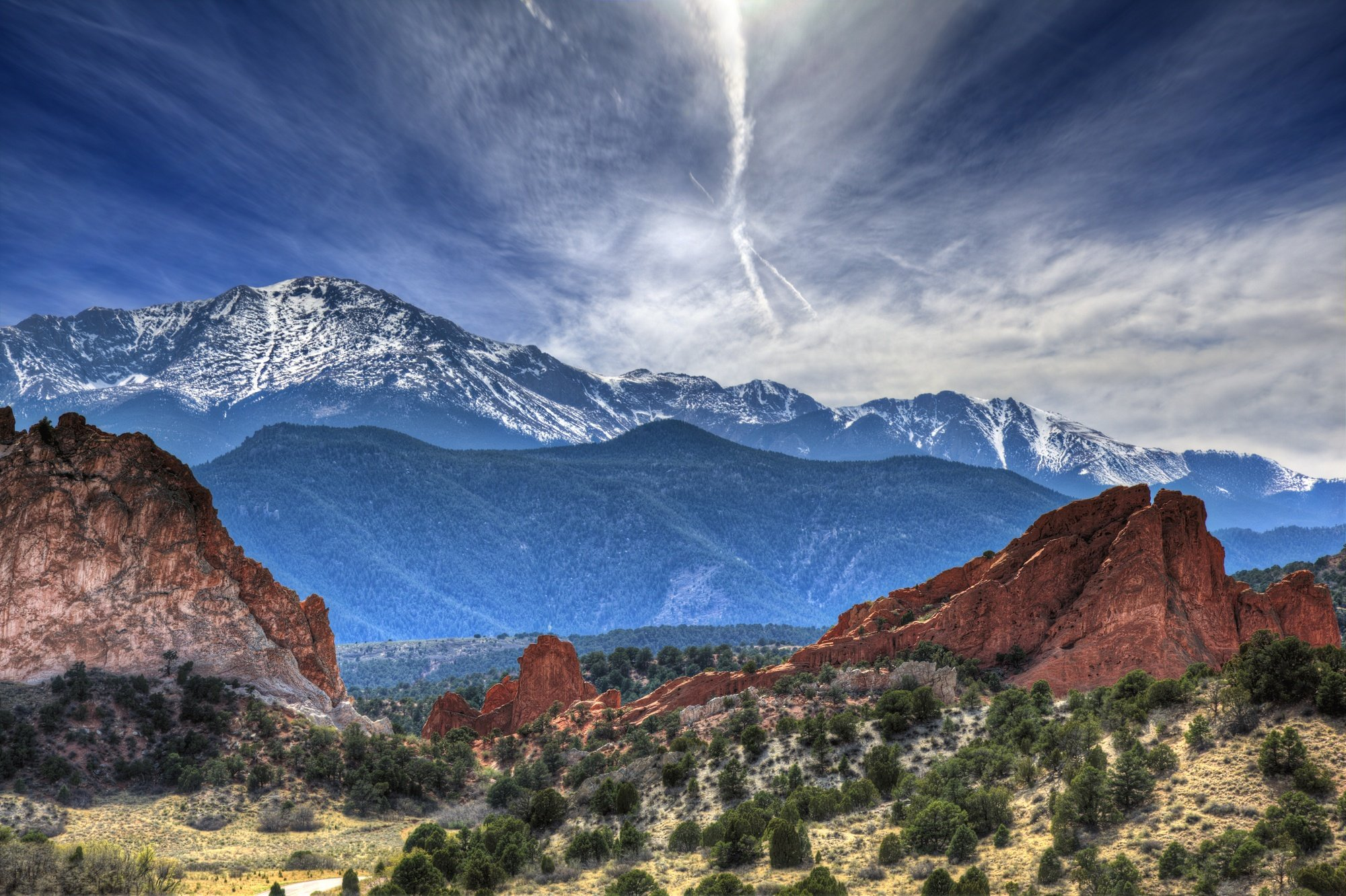 Garden of the Gods in Colorado Springs, Colorado with Pike's Peak in the background