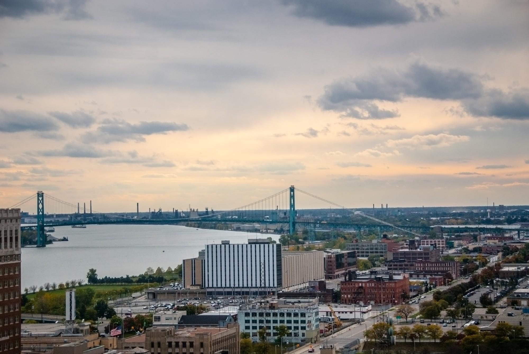 Ambassador Bridge that spans between Windsor, Ontario and Detroit, Michigan