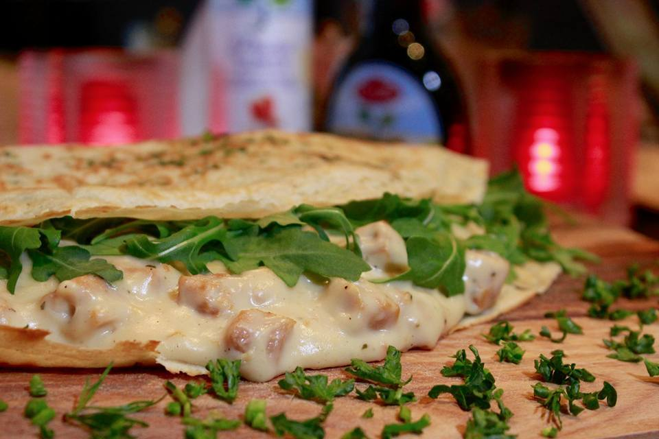 A pancake of the month, chicken ragout and arugula, at Pannenkoe in Gouda, The Netherlands