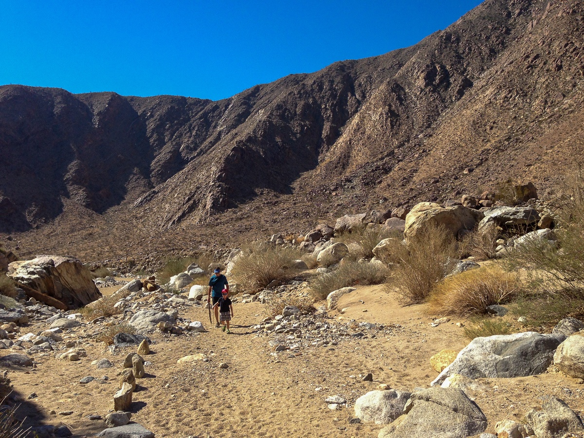 Father and son hiking in Borrego Springs