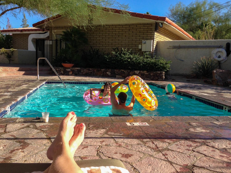 Casita private pool at La Casa Del Zorro in Borrego Springs with kids