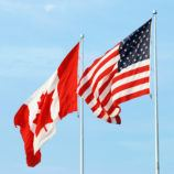 Canadian and American flags side by side