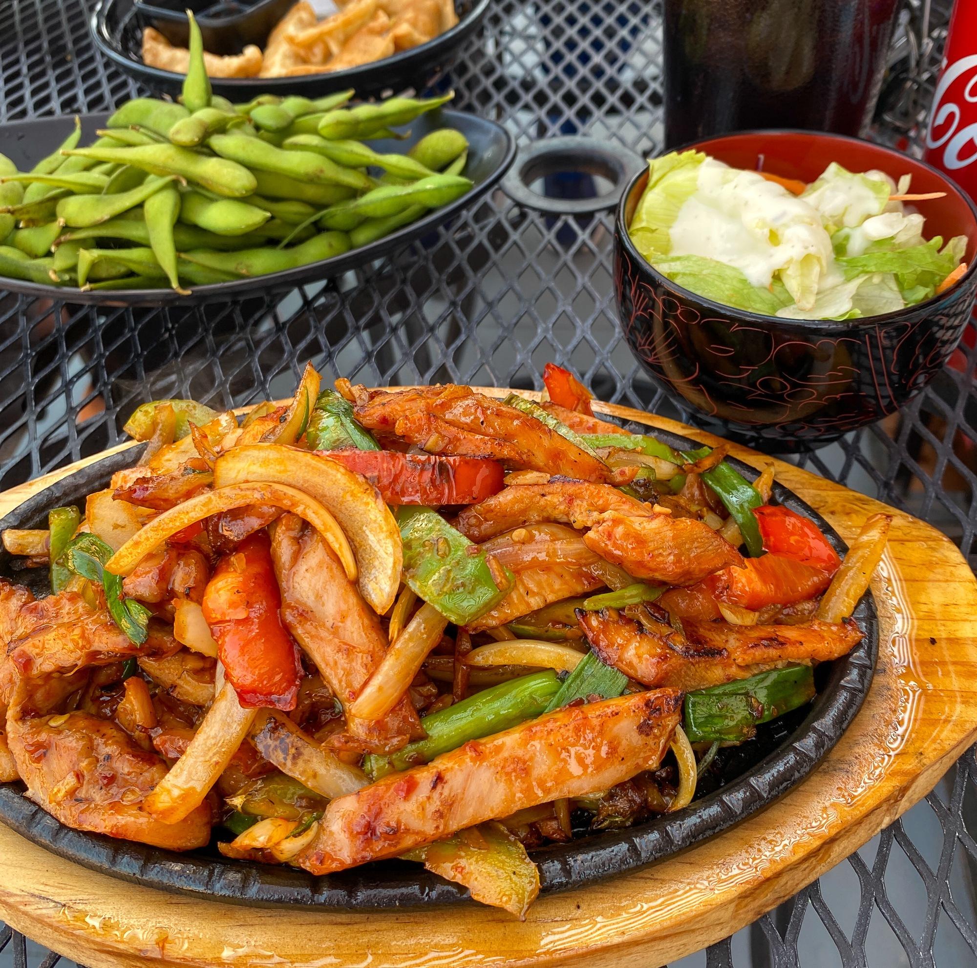 Chicken bul go ghi, edamame, pork gyoza and side salad at New York Teriyaki in Page, AZ