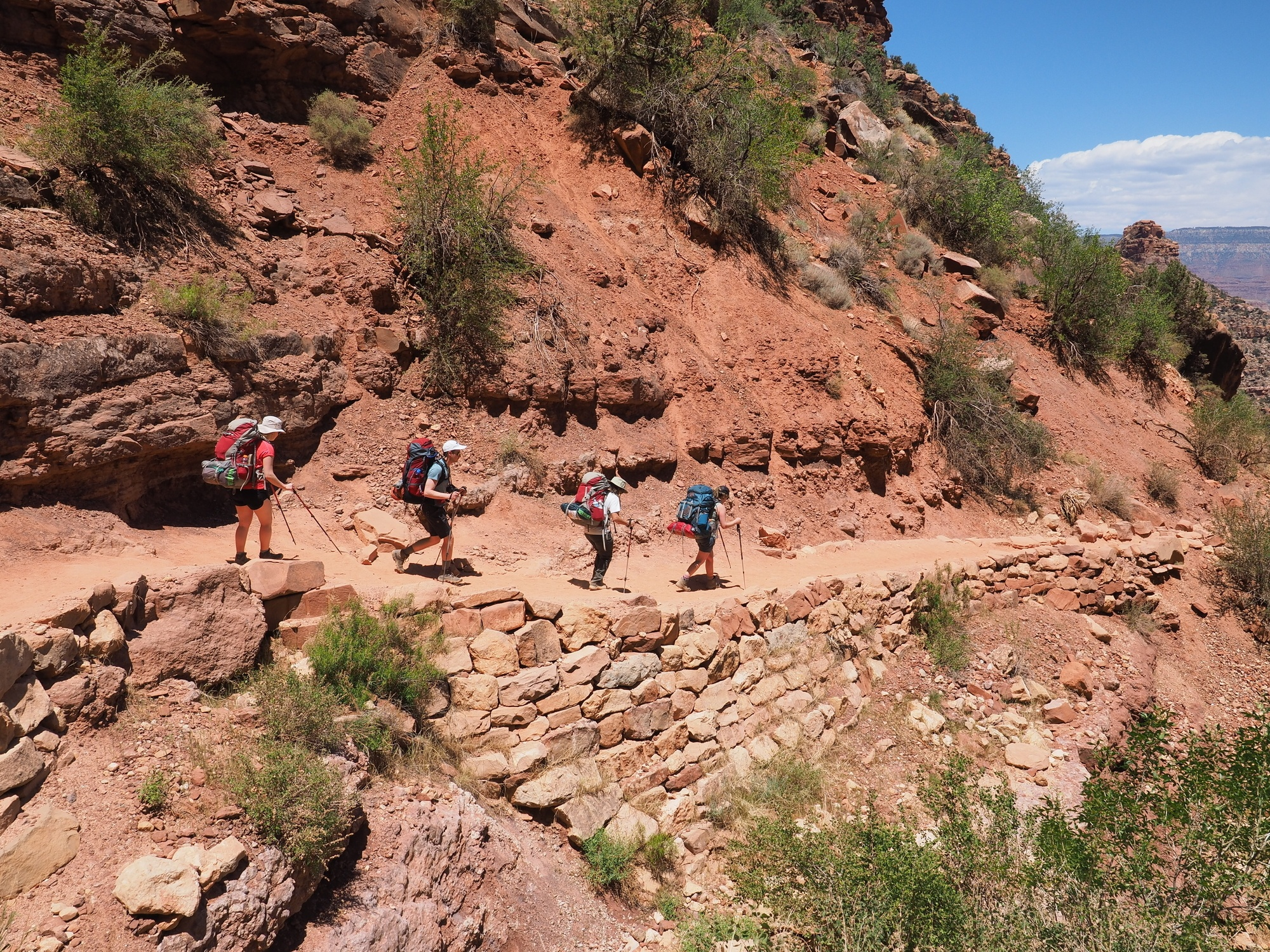 Hikers on the Bright Angel Trail in the Grand Canyon