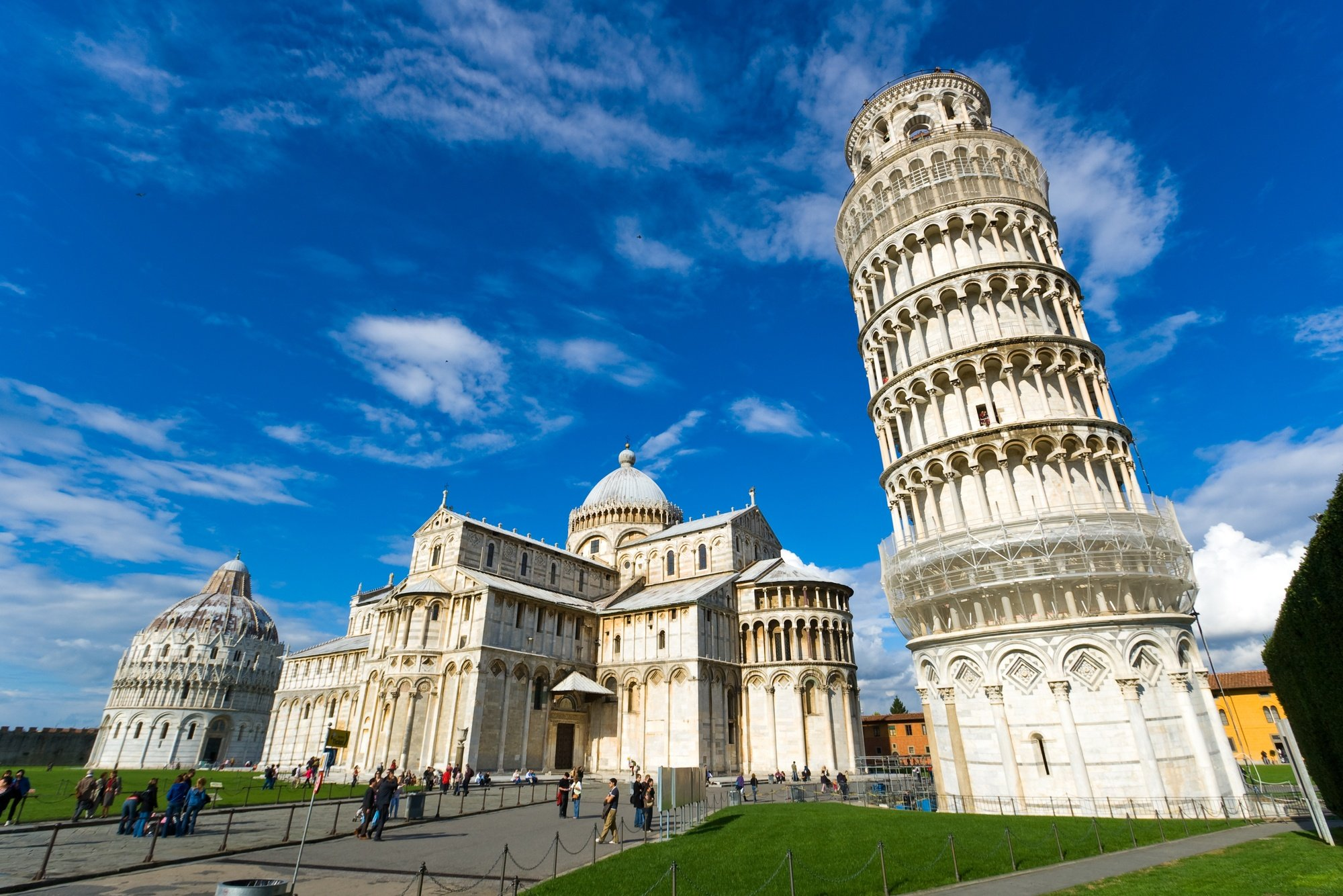 Piazza dei Miracoli, home to the Leaning Tower, the Pisa Cathedral and the Pisa Baptistry