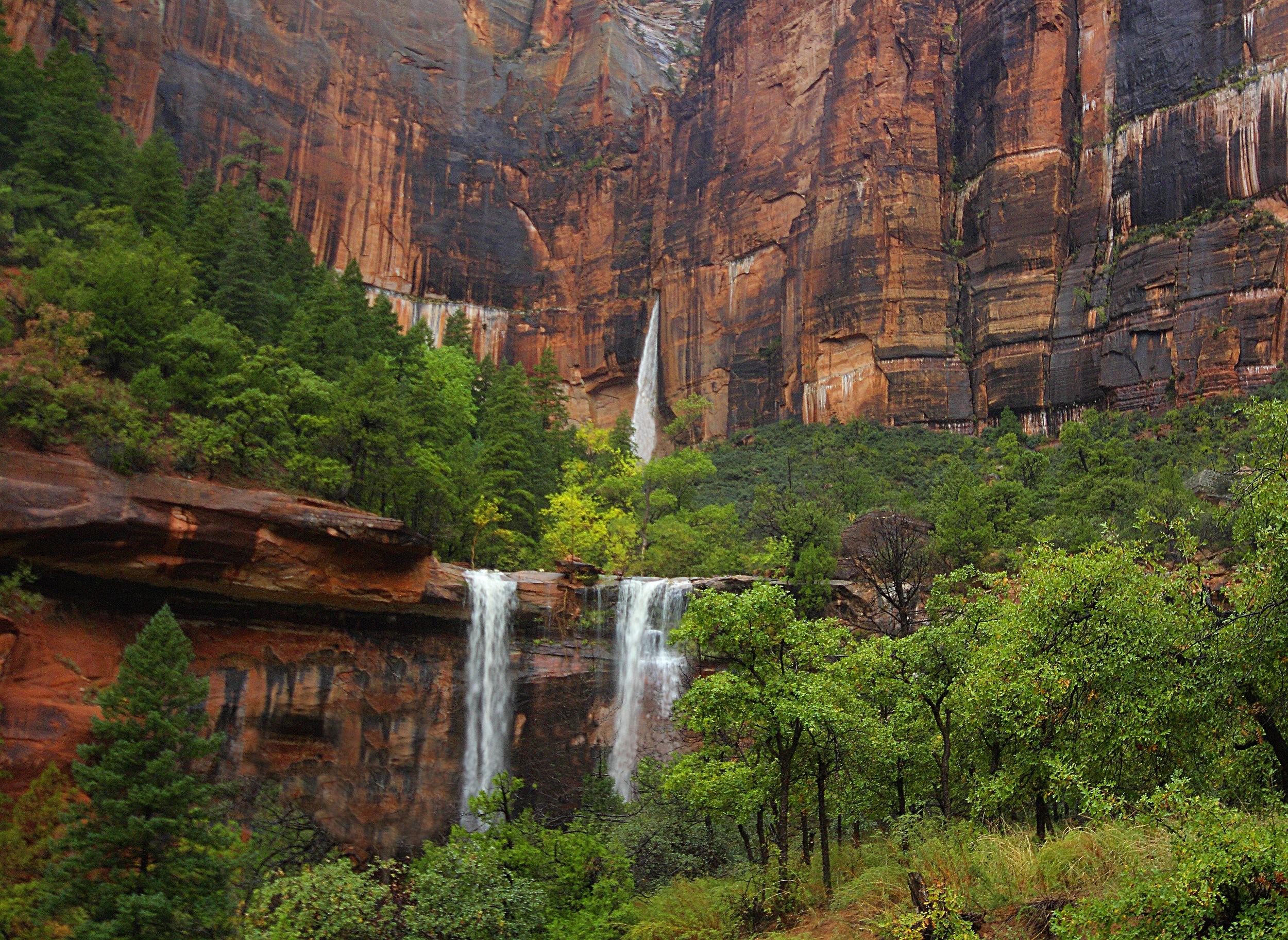 Waterfalls after rain at the Emerald Pools at Zion National Park