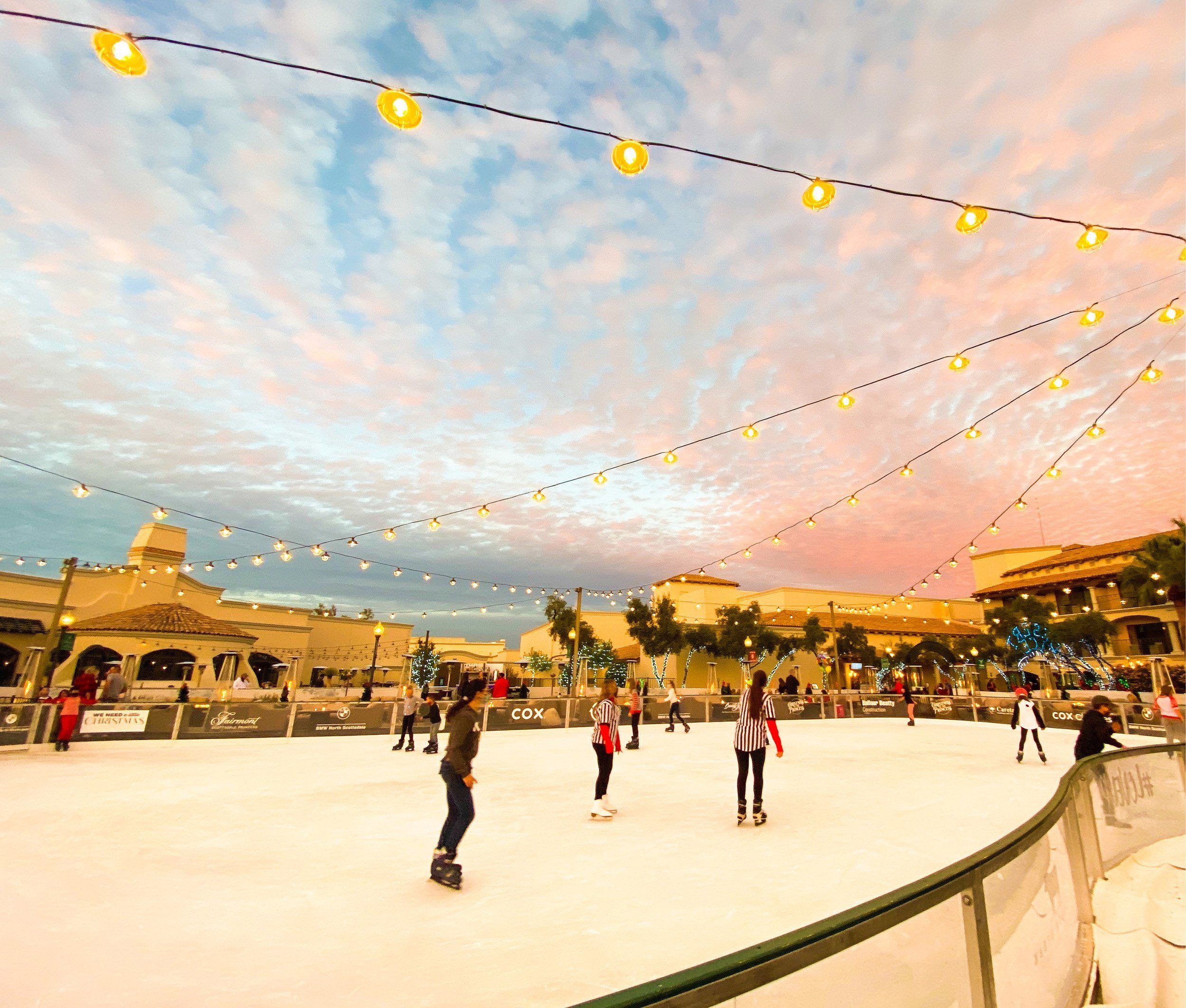 Outdoor ice skating rink at Christmas at the Fairmont Scottsdale Princess