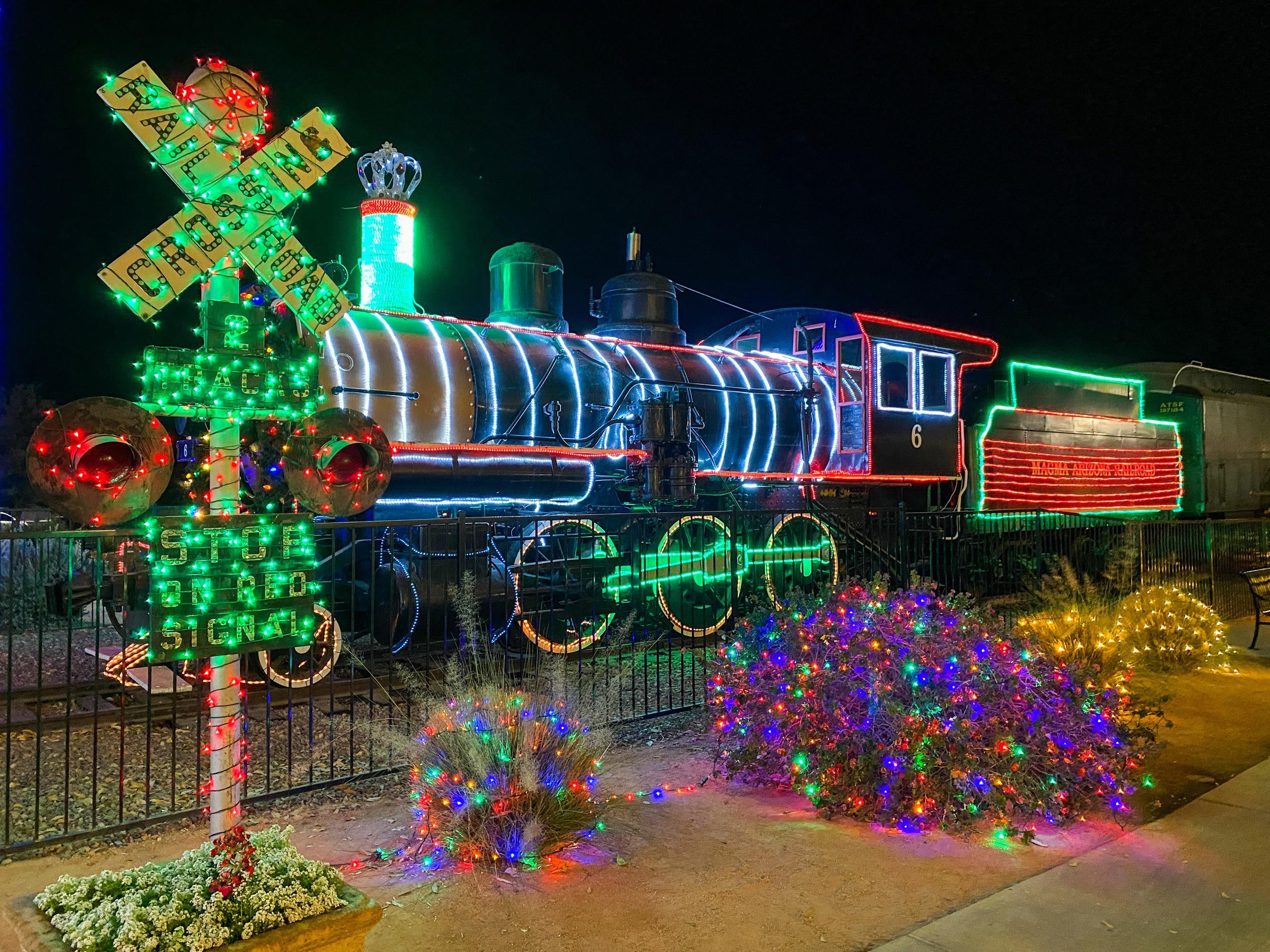 A decorated full-sized train at McCormick-Stillman Railroad Park in Scottsdale, AZ