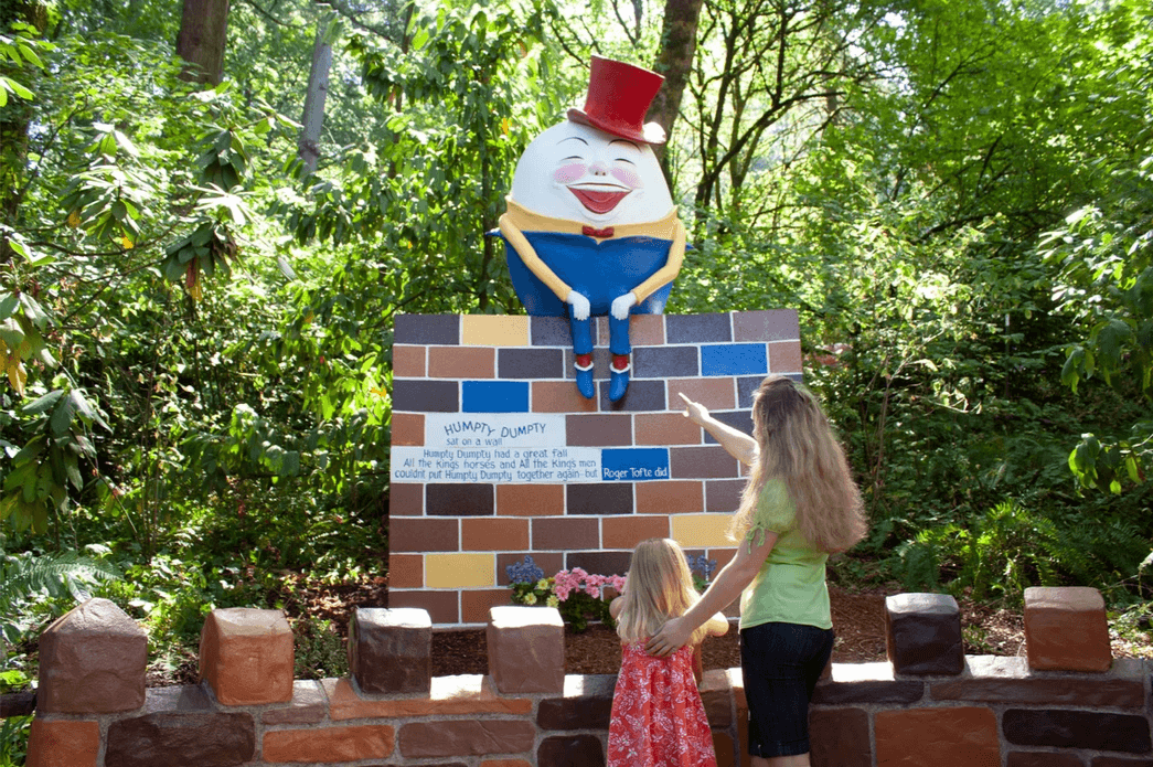 Humpty Dumpty attraction at the Enchanted Forest Theme Park