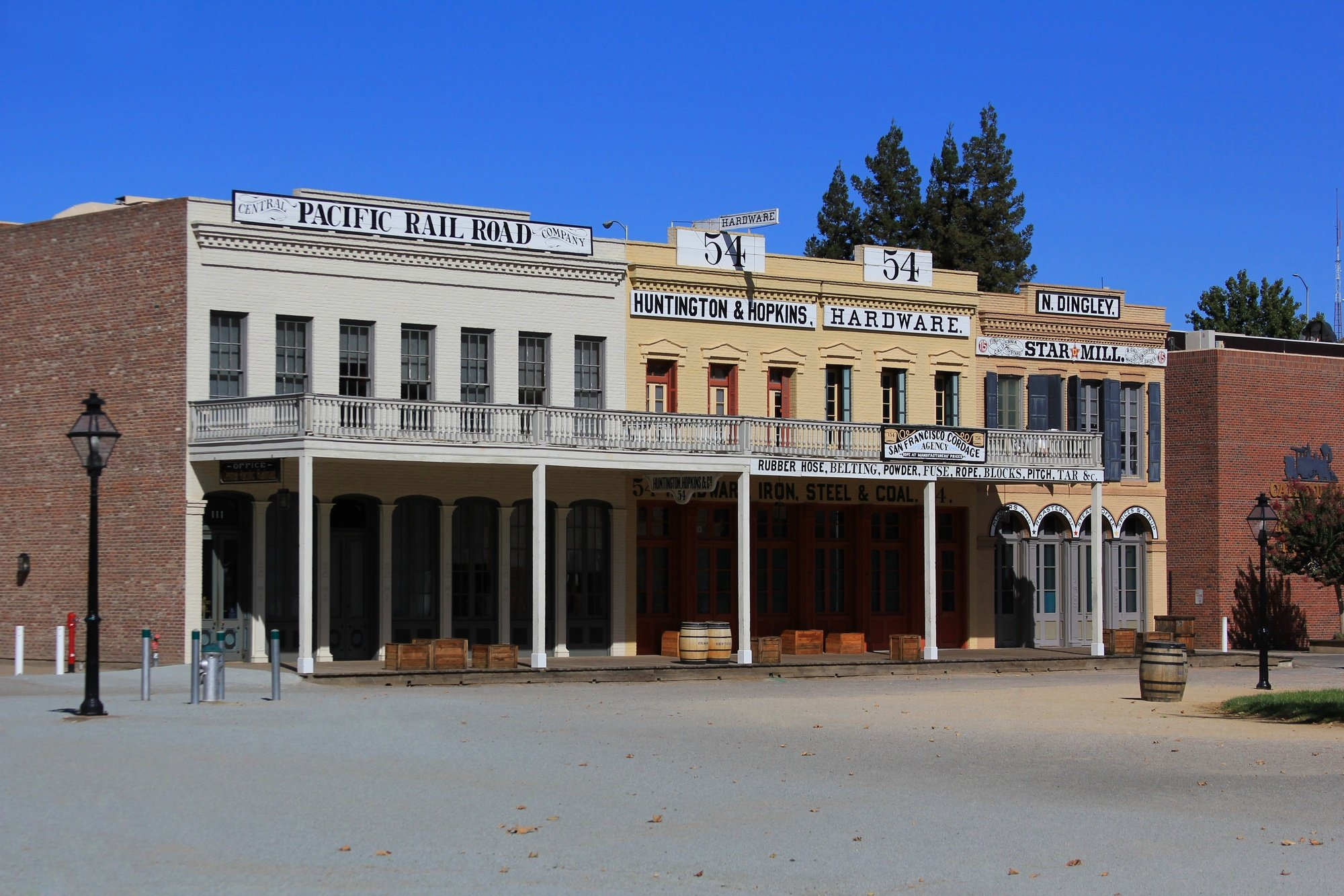 Historic wooden storefronts in Old Sacramento