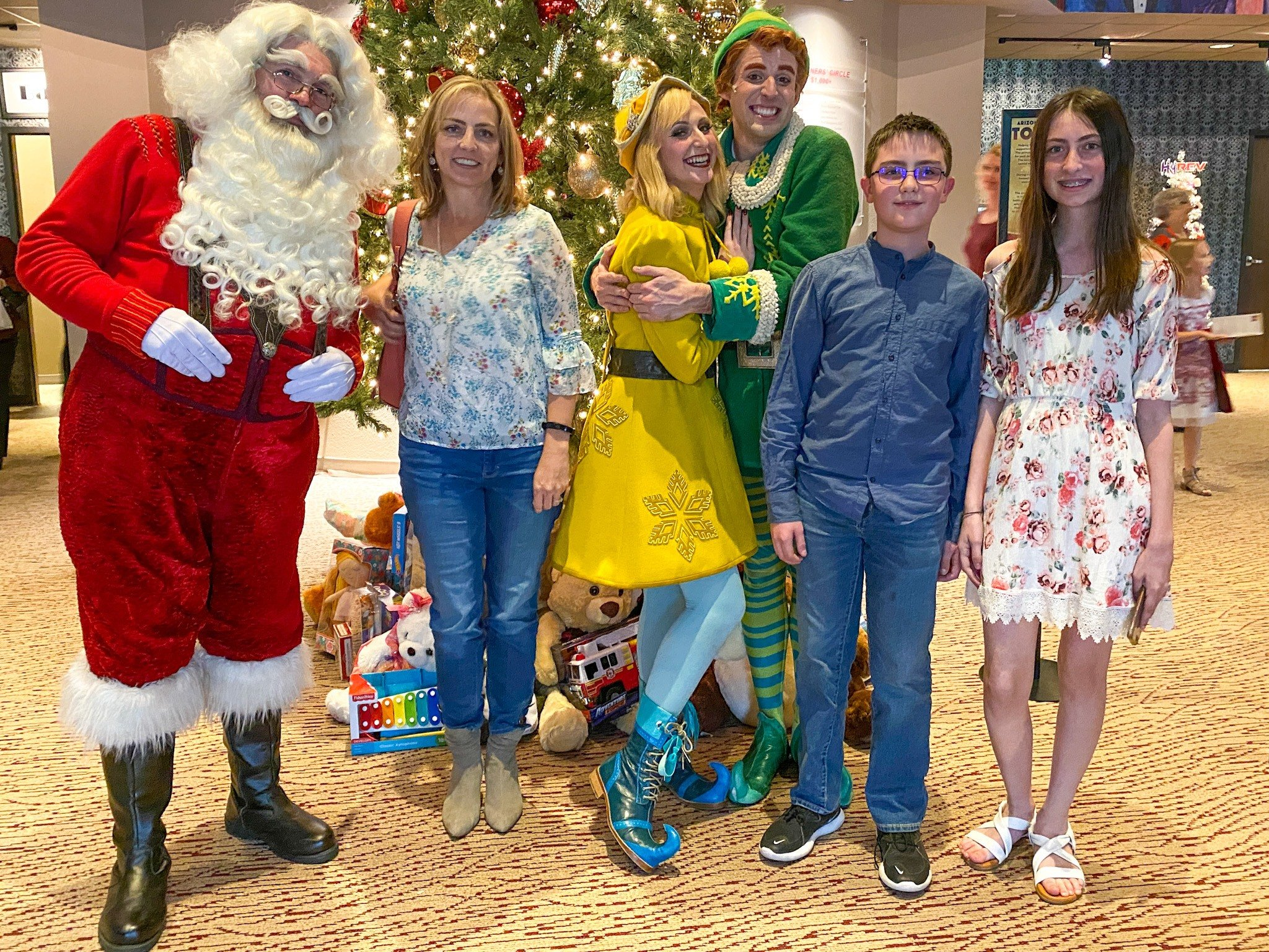My family with Santa, Buddy the Elf, and Jovie at the 2019 Arizona Broadway Company's Elf the Musical