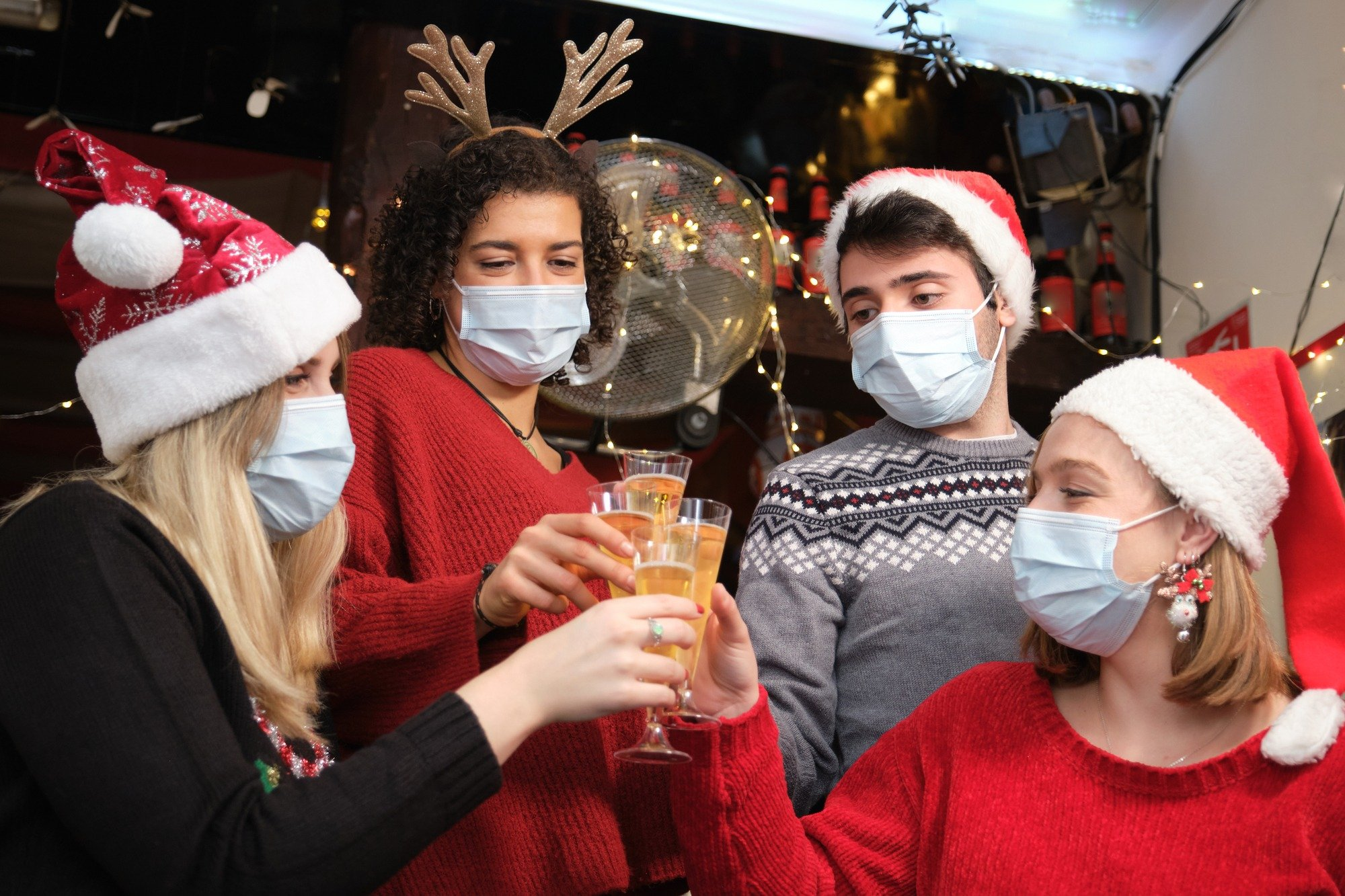 Santa Pub Crawl with masks