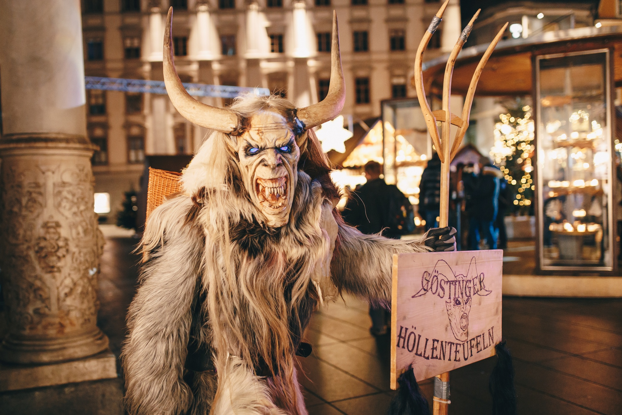 Krampus masked people in Graz, Austria at a Christmas festival