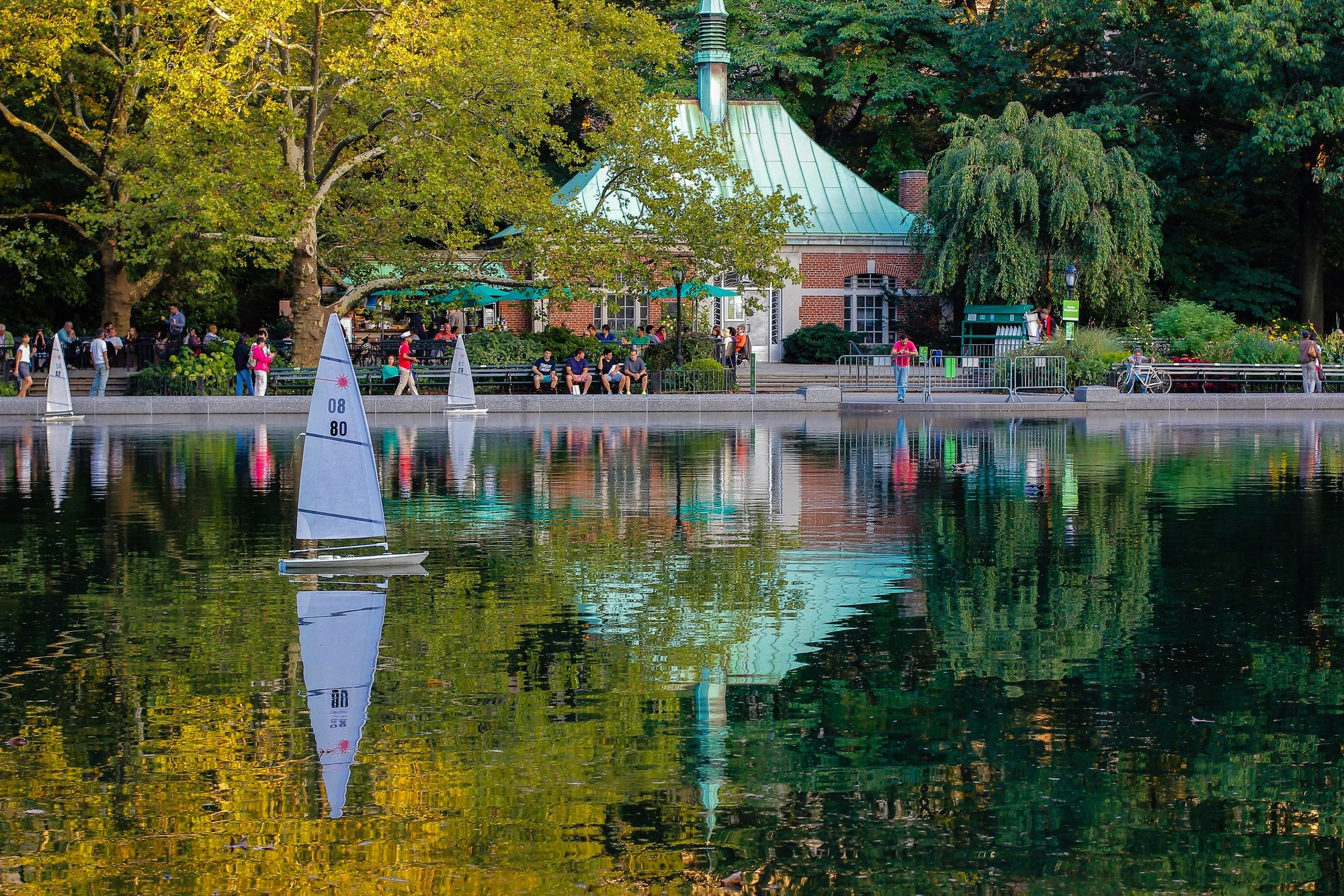 Miniature boats on Conservatory Water in Central Park