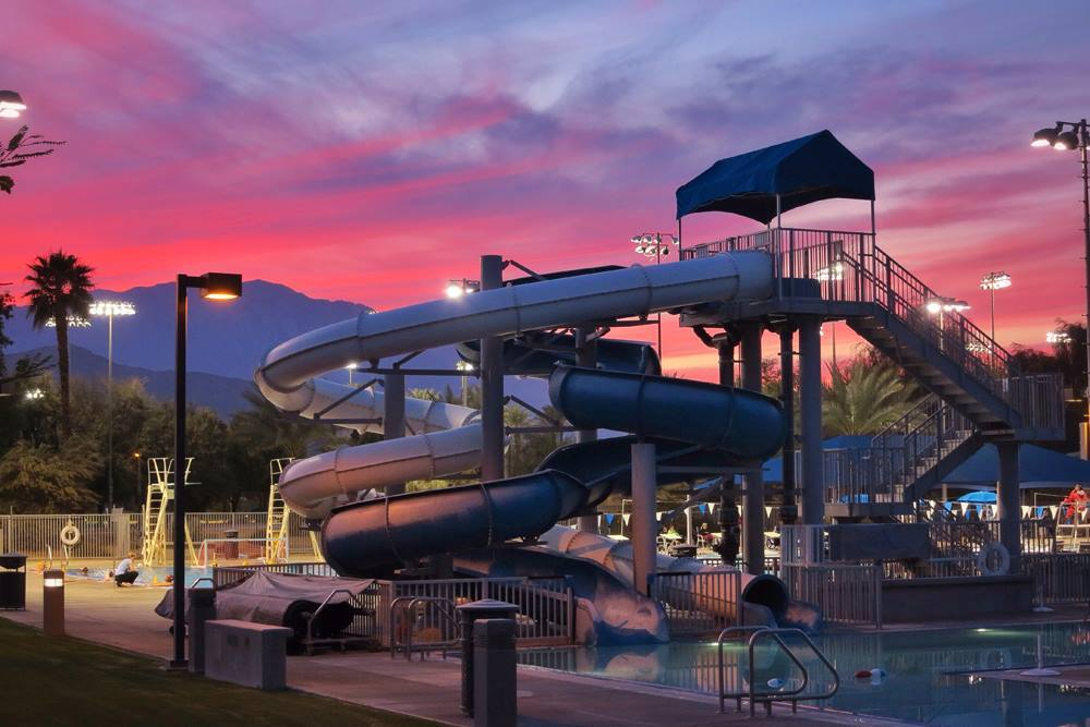 Palm Desert Aquatic Center sunset near Palm Springs