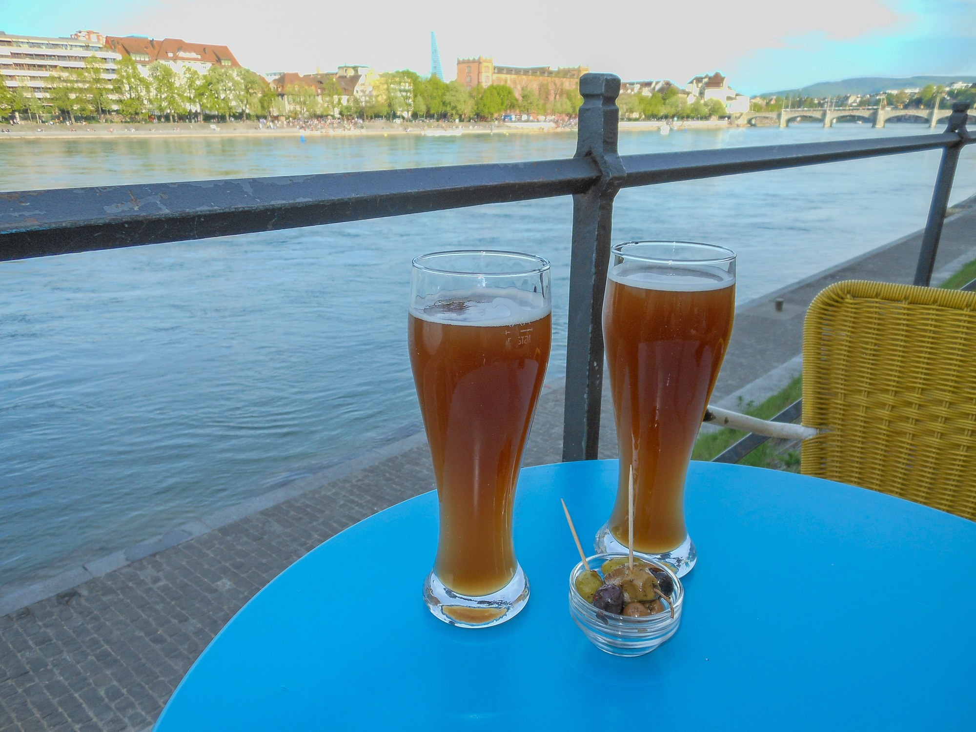Prost! Beers along the Rhine in Basel, Switzerland