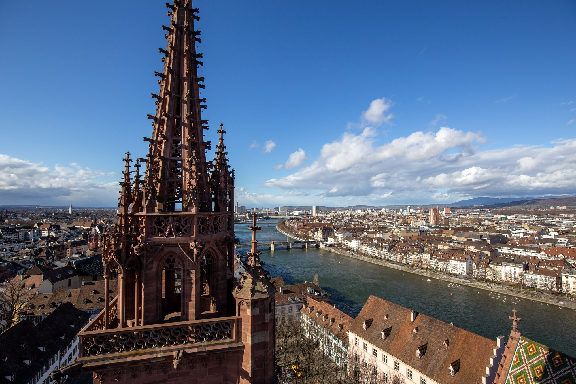 View from top Basel Minster