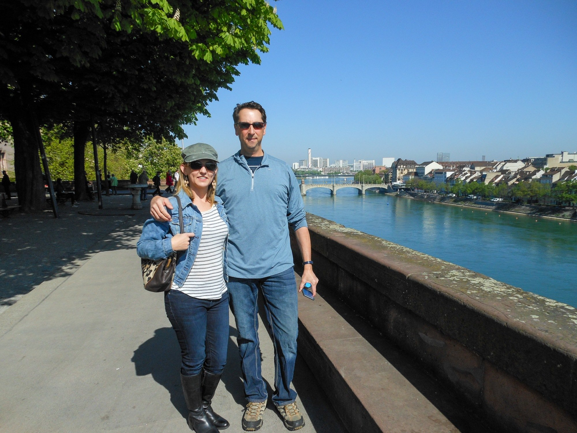 Couple by the Rhine in Basel, Switzerland