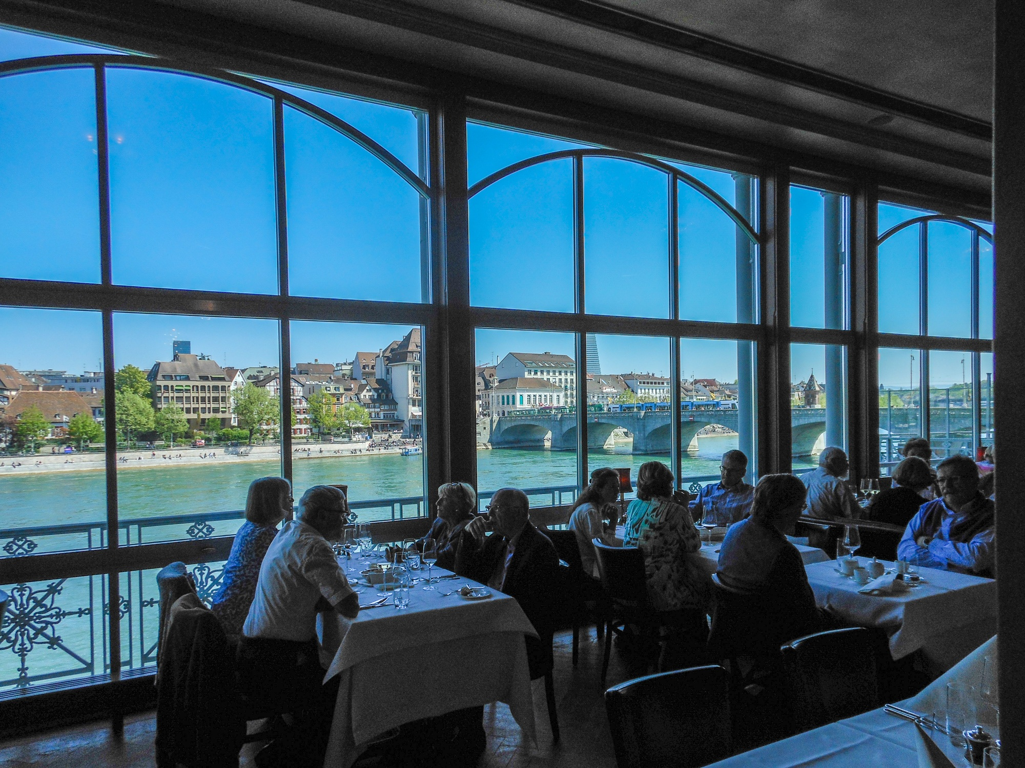 Rhine River view at lunch at Grand Hotel Les Trois Rois