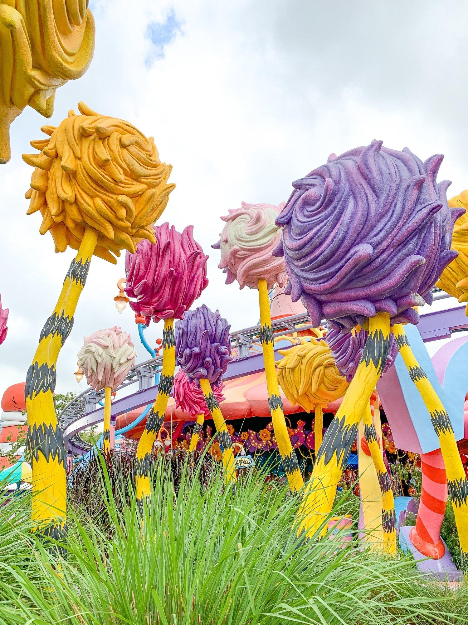 The Lorax's Truffula trees at Seuss Landing