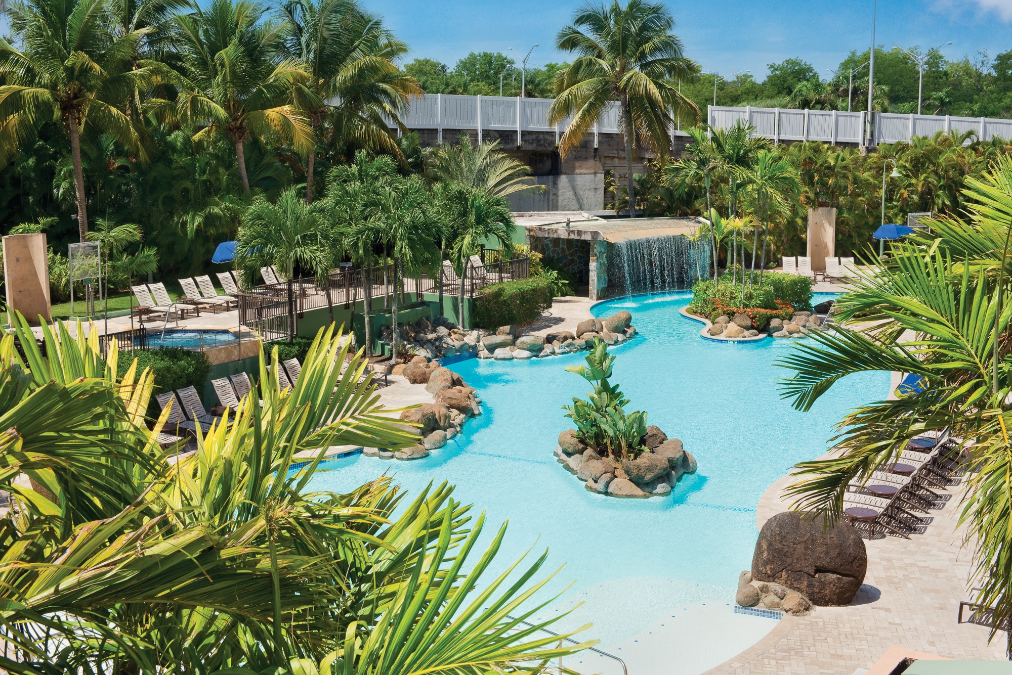Puerto Rico hotel pool with waterfall