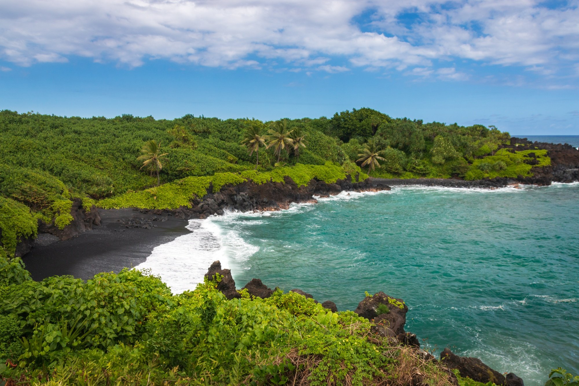 Waianapanapa Black Sand Beach along Road to Hana