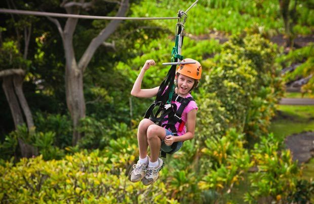 Zip-lining in Maui with kids