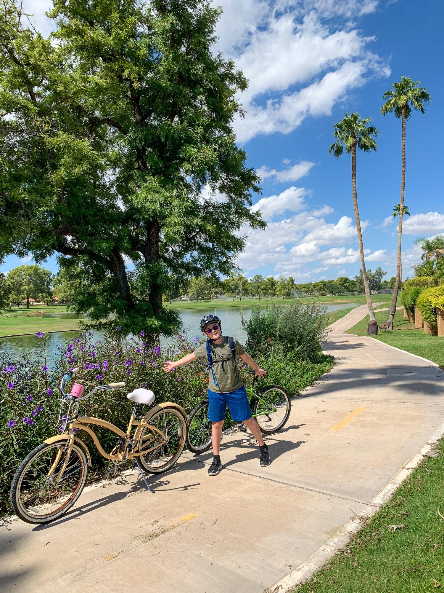Bicycling Indian Bend Wash Greenbelt outdoors in Scottsdale, AZ