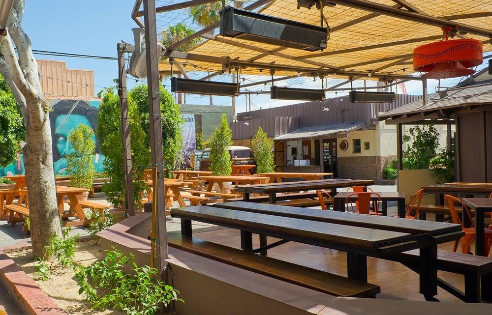 Outdoor dining at Brat Haus beer garden in Scottsdale, AZ