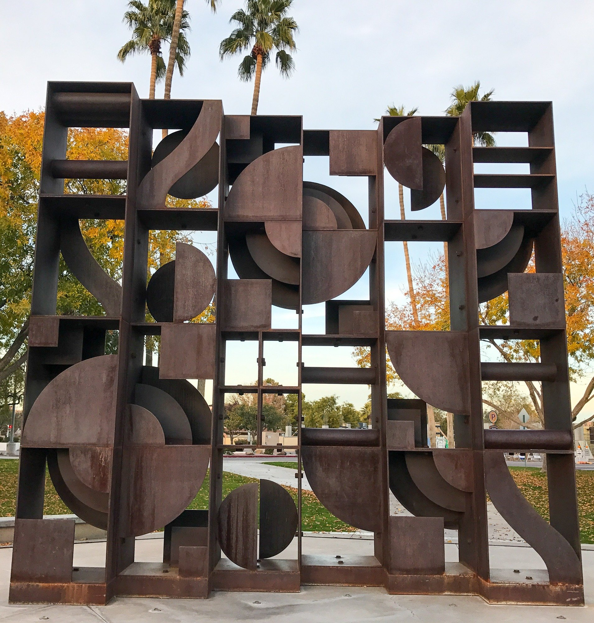 Windows to the West sculpture in the Scottsdale Civic Center Plaza