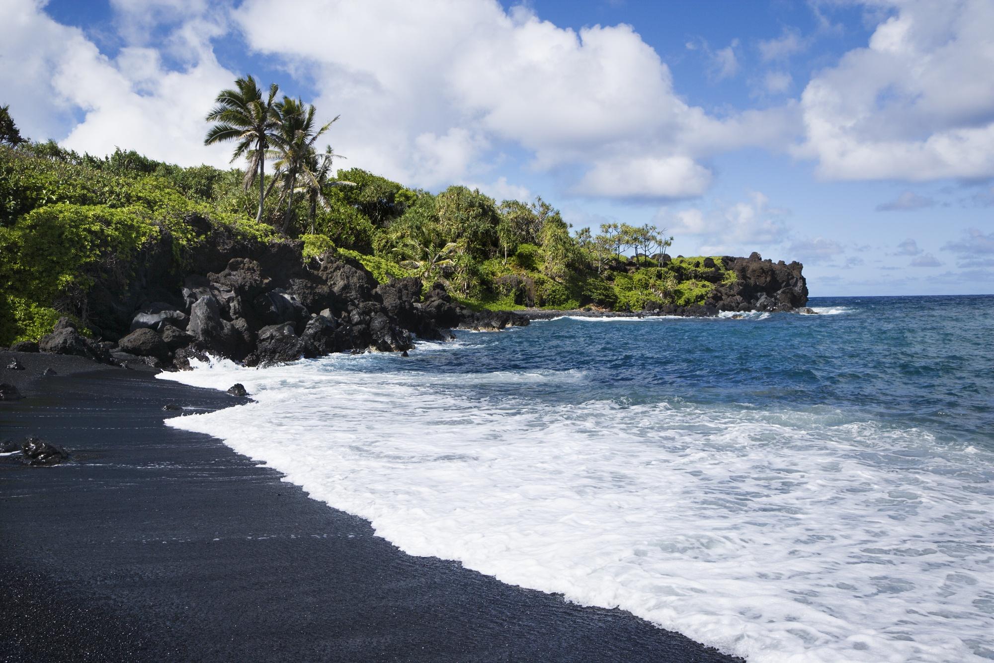 Black sand beach in Western state Maui, Hawaii