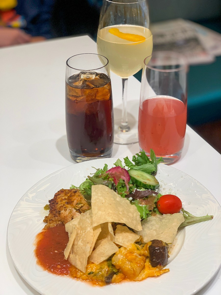 Complimentary food and drinks in an airport lounge