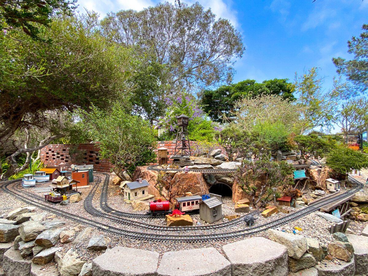 Model trains in Seeds of Wonder Children's Garden at San Diego Botanic Garden