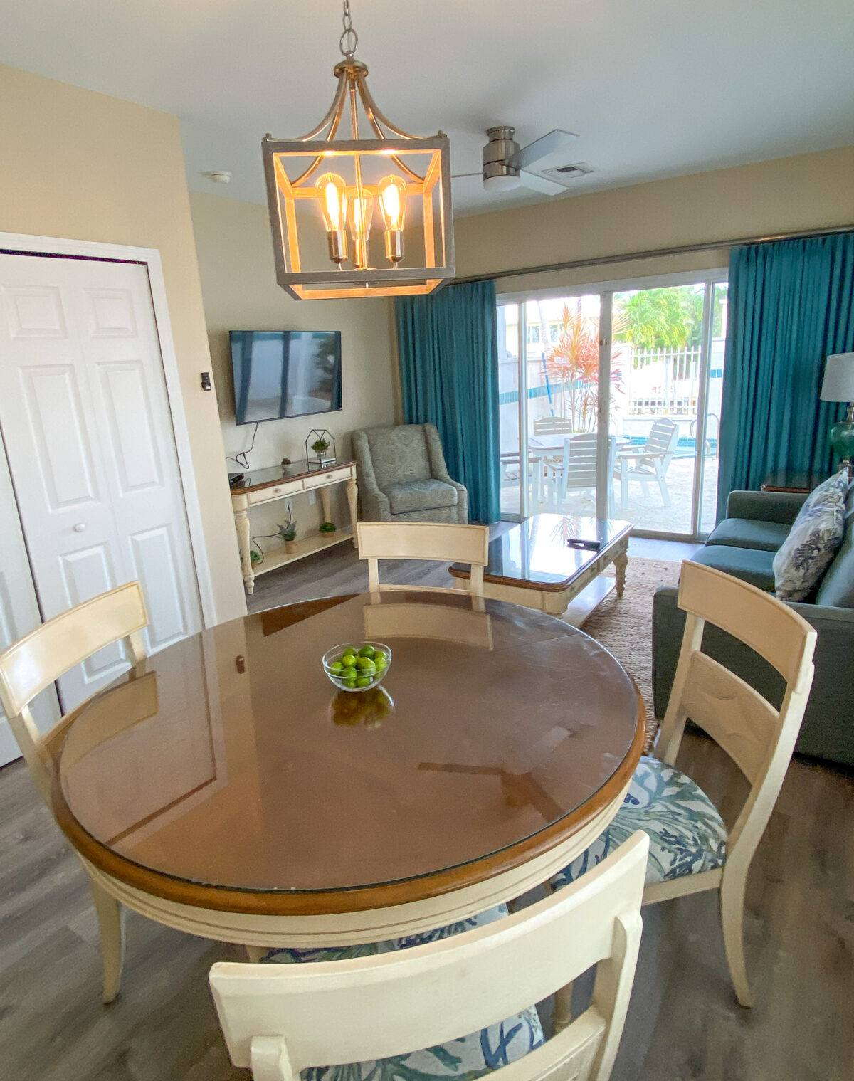 Family room in our two-story, two-bedroom villa at Hawks Cay Resort