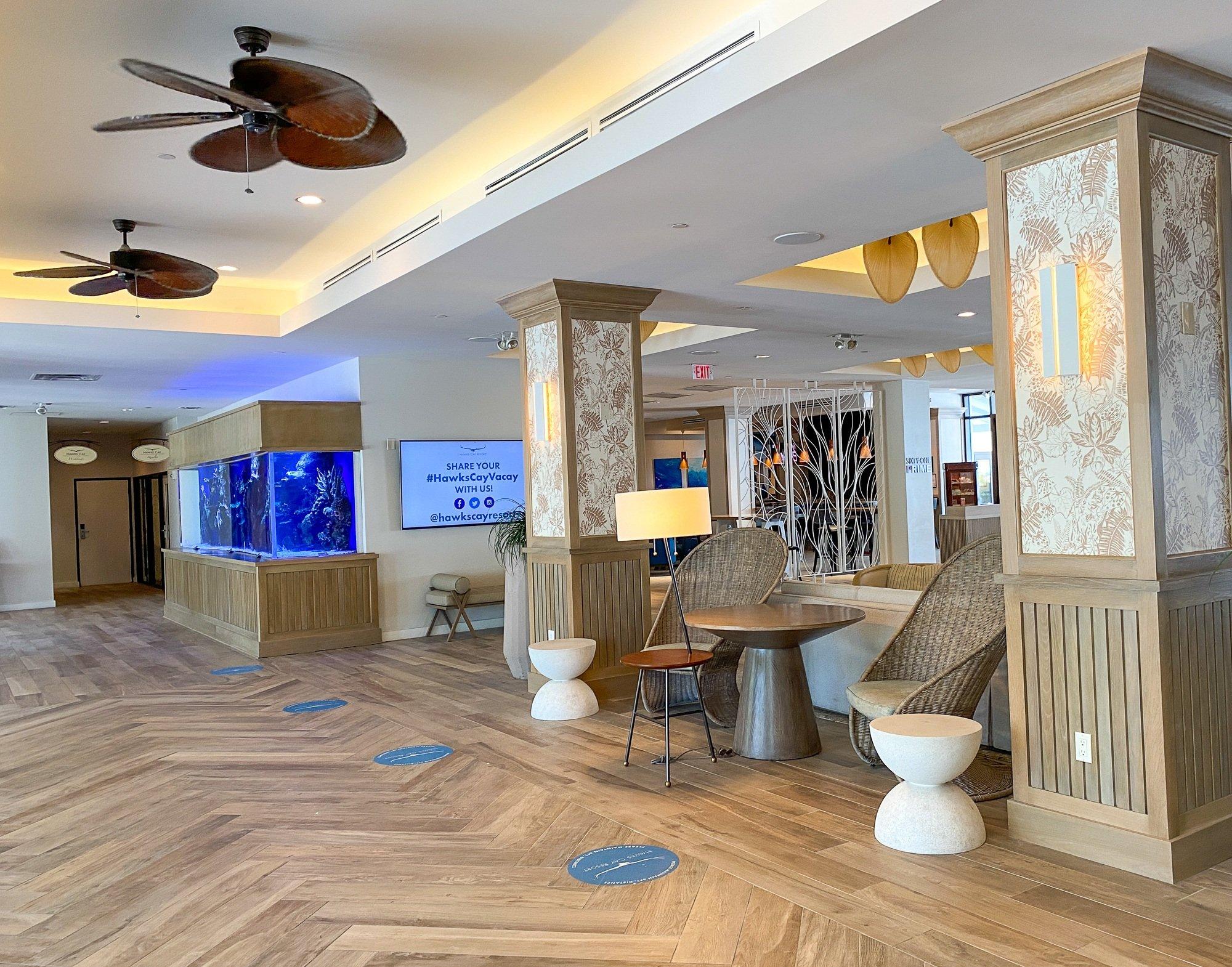 Hawks Cay Resort lobby with aquarium