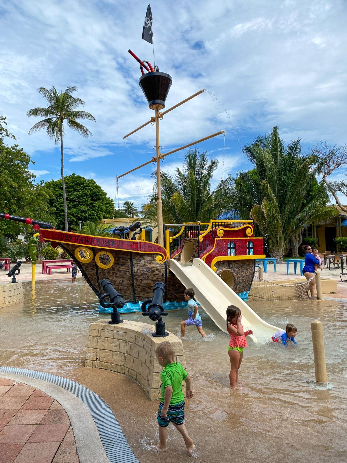 Pirate Ship splash pool at Hawks Cay Resort with kids