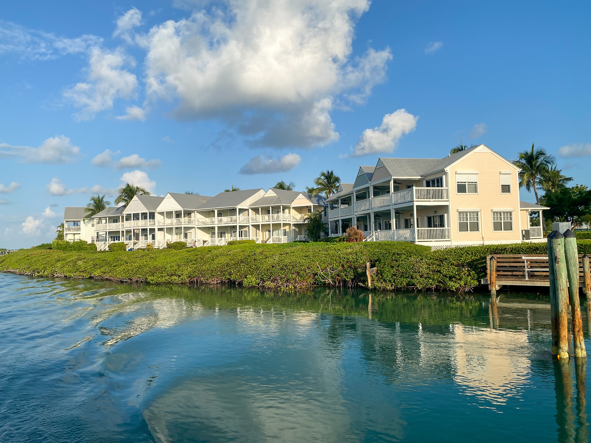 View of Hawks Cay Resort villas from the water